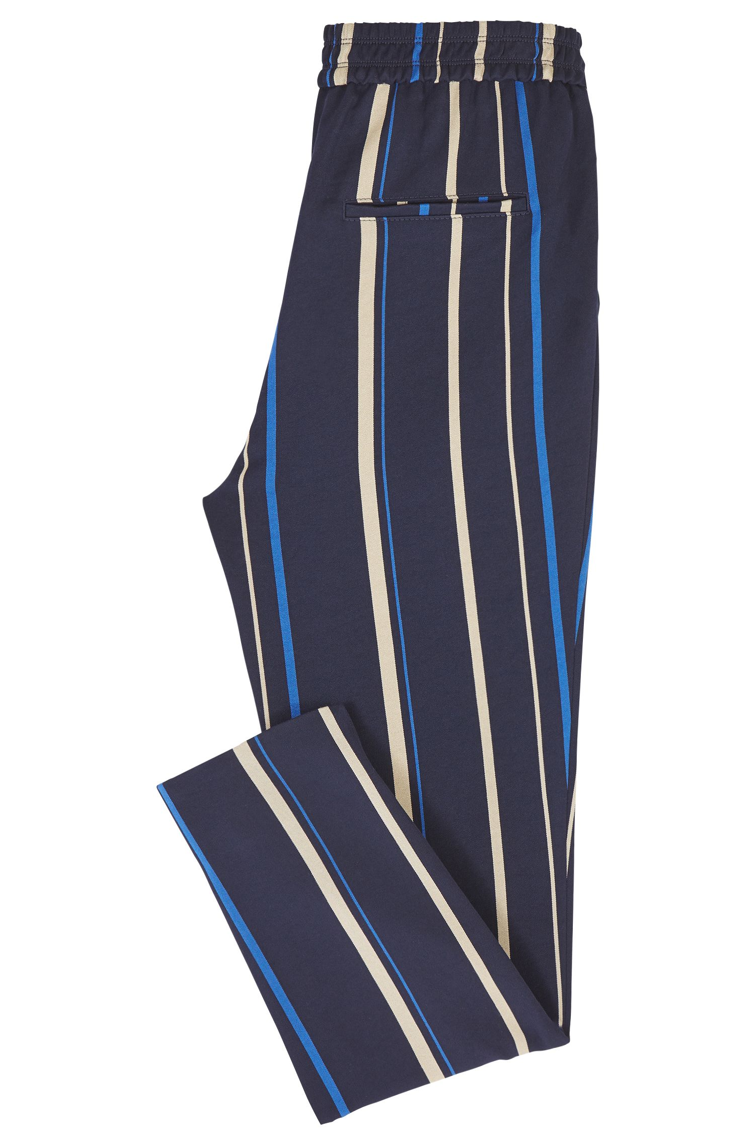 Pantalones regular fit drapeados con rayas de varios colores