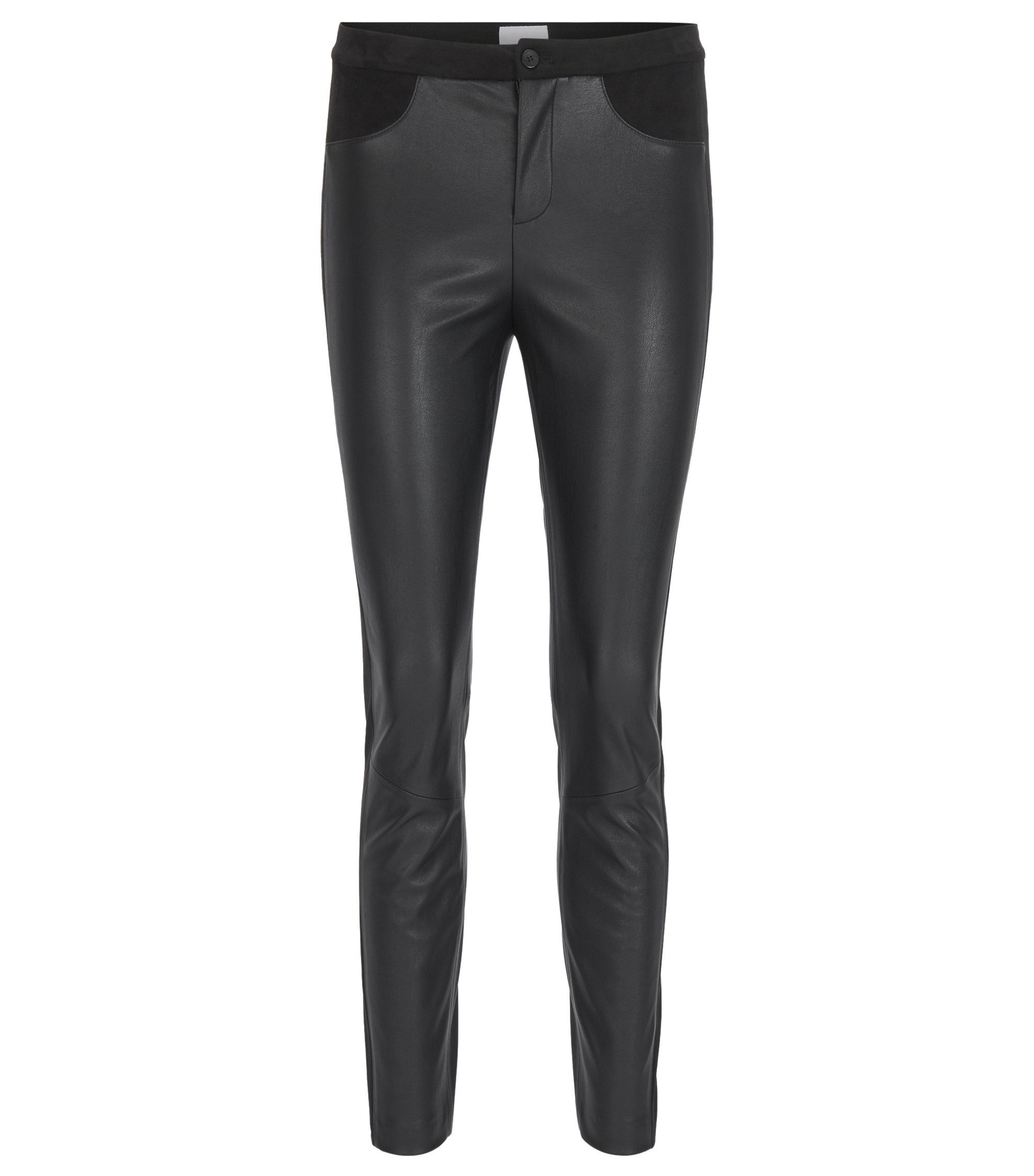 Skinny-fit trousers in friendly leather, Black
