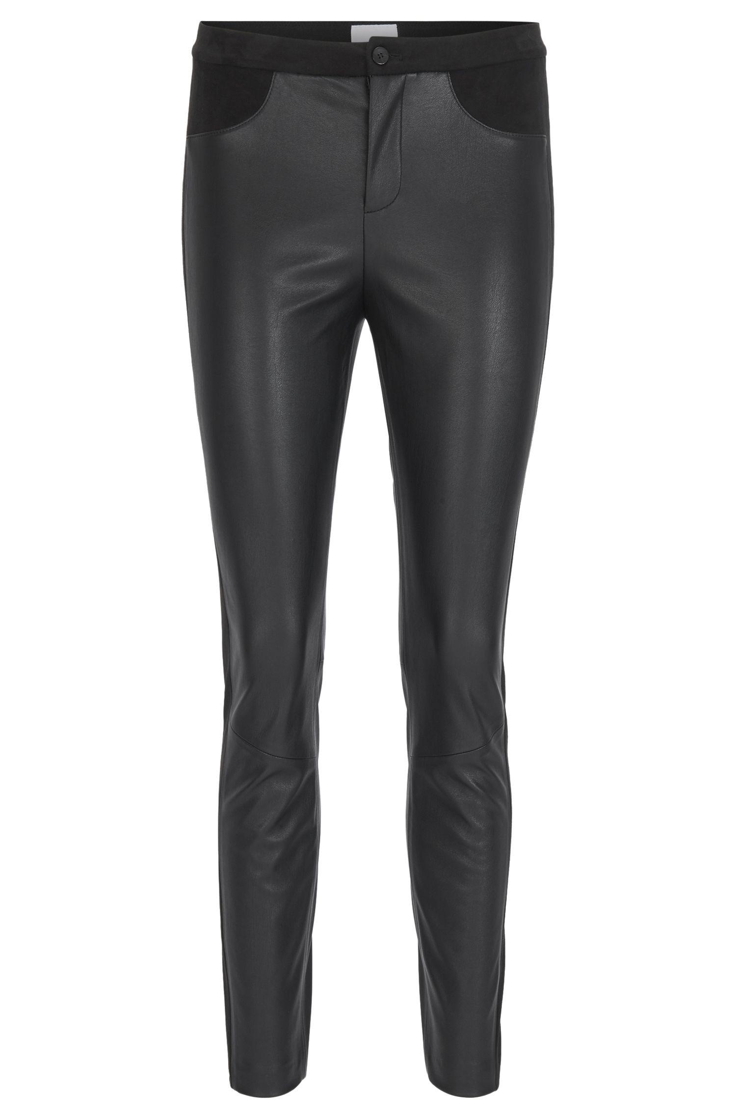 Pantalon Skinny Fit en cuir doux au toucher, Noir