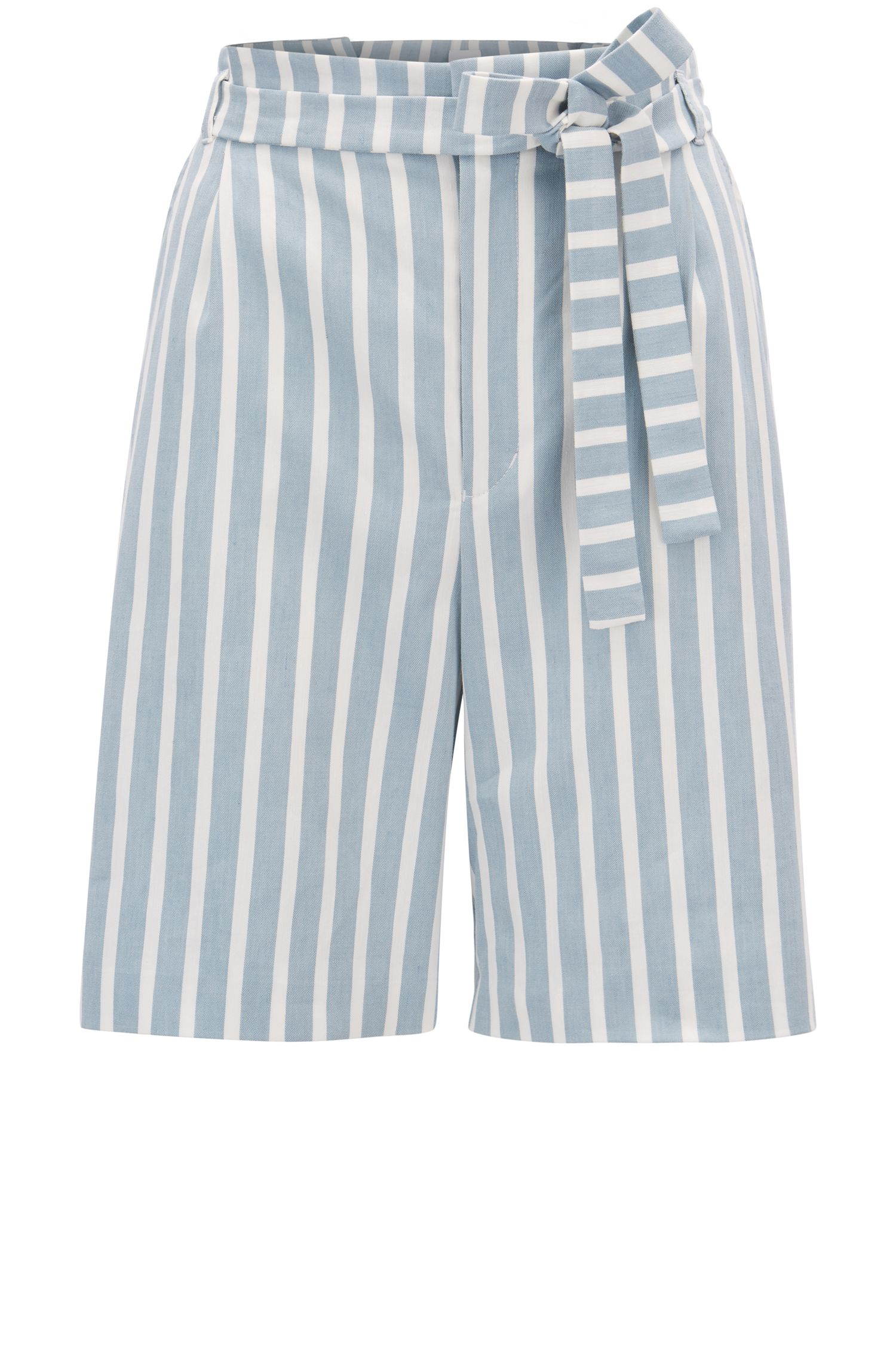 Short en lin mélangé stretch à rayures, avec taille plissée