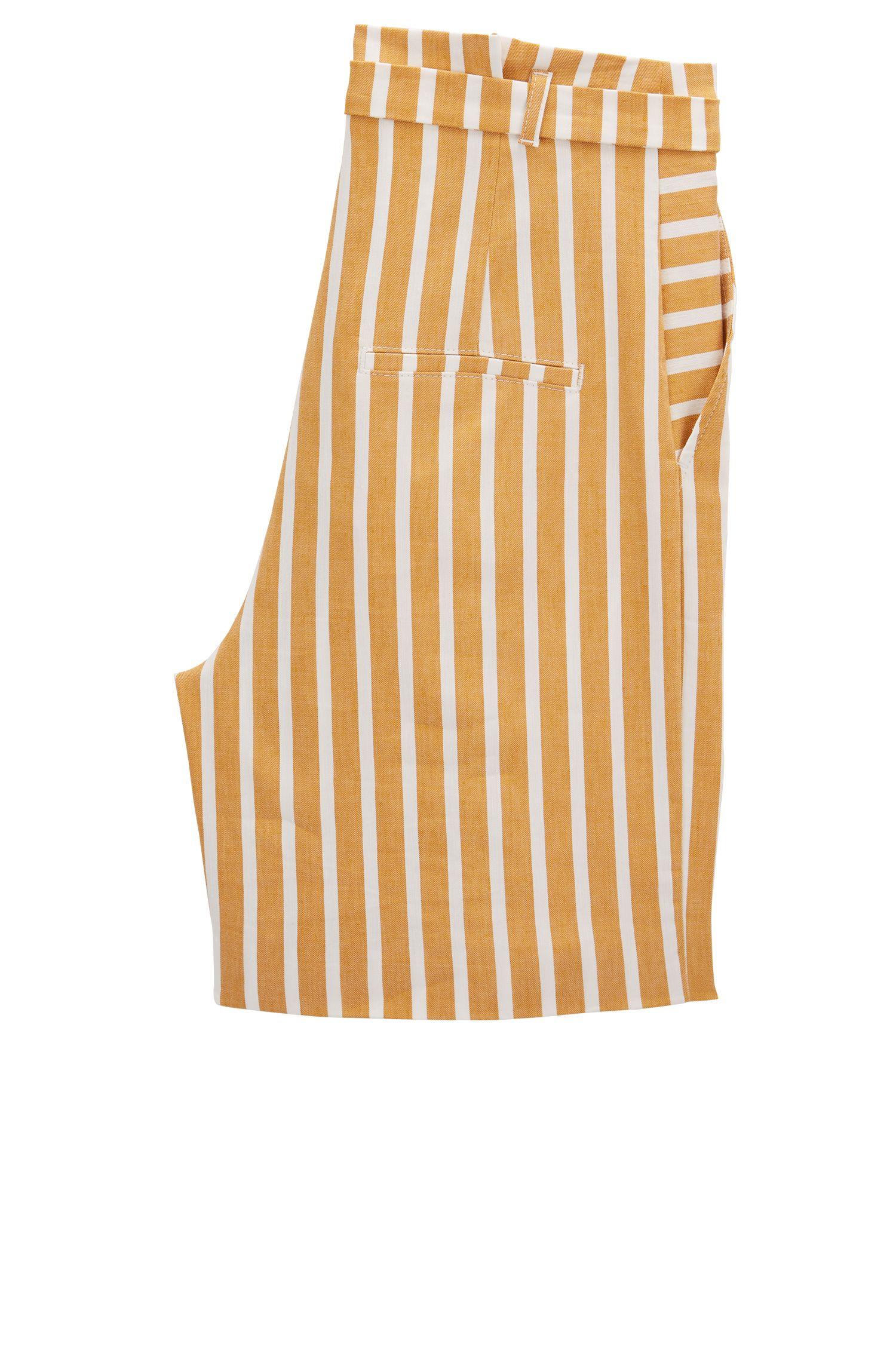 Gestreifte Shorts aus elastischem Leinen-Mix mit Faltenbund