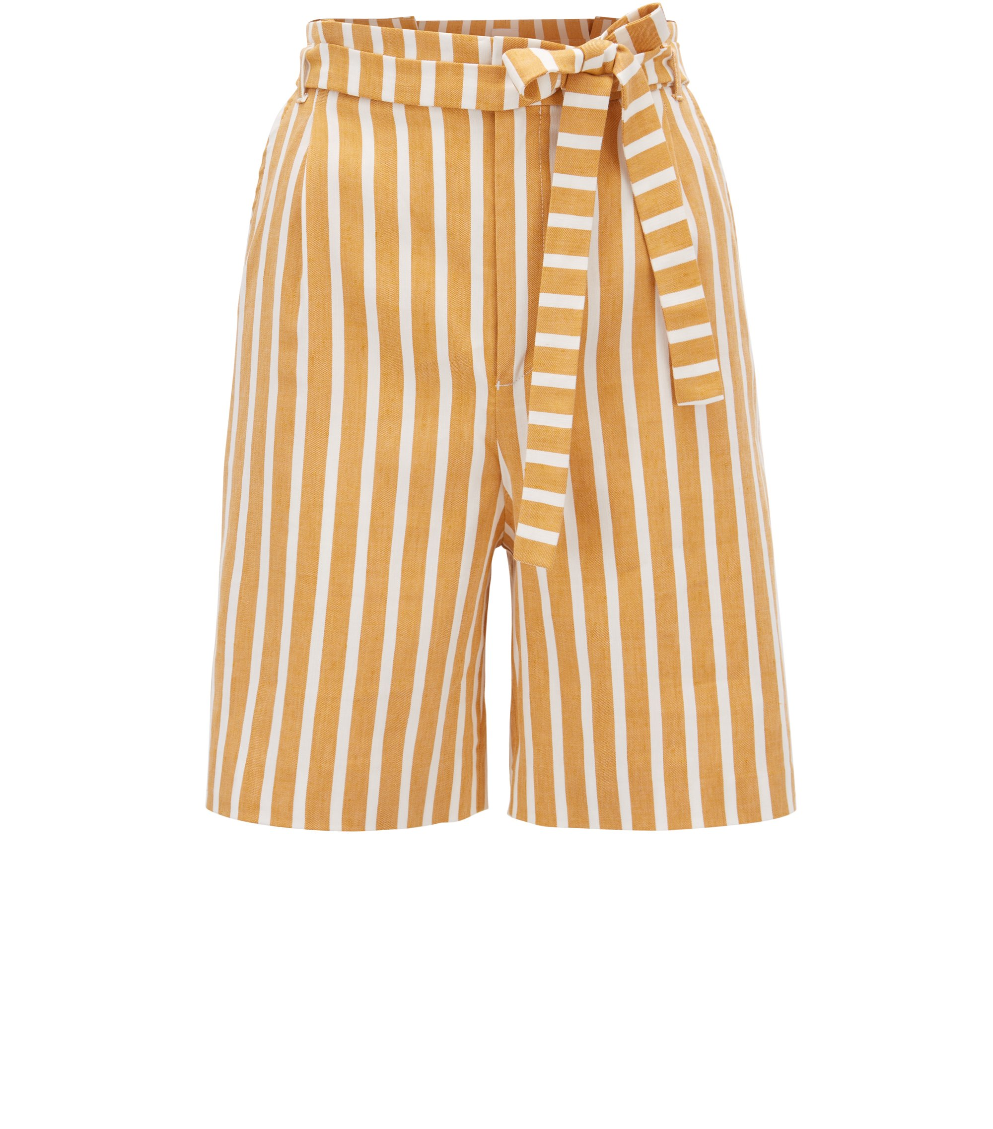 Stretch linen-blend striped shorts with pleated waistband , Patterned