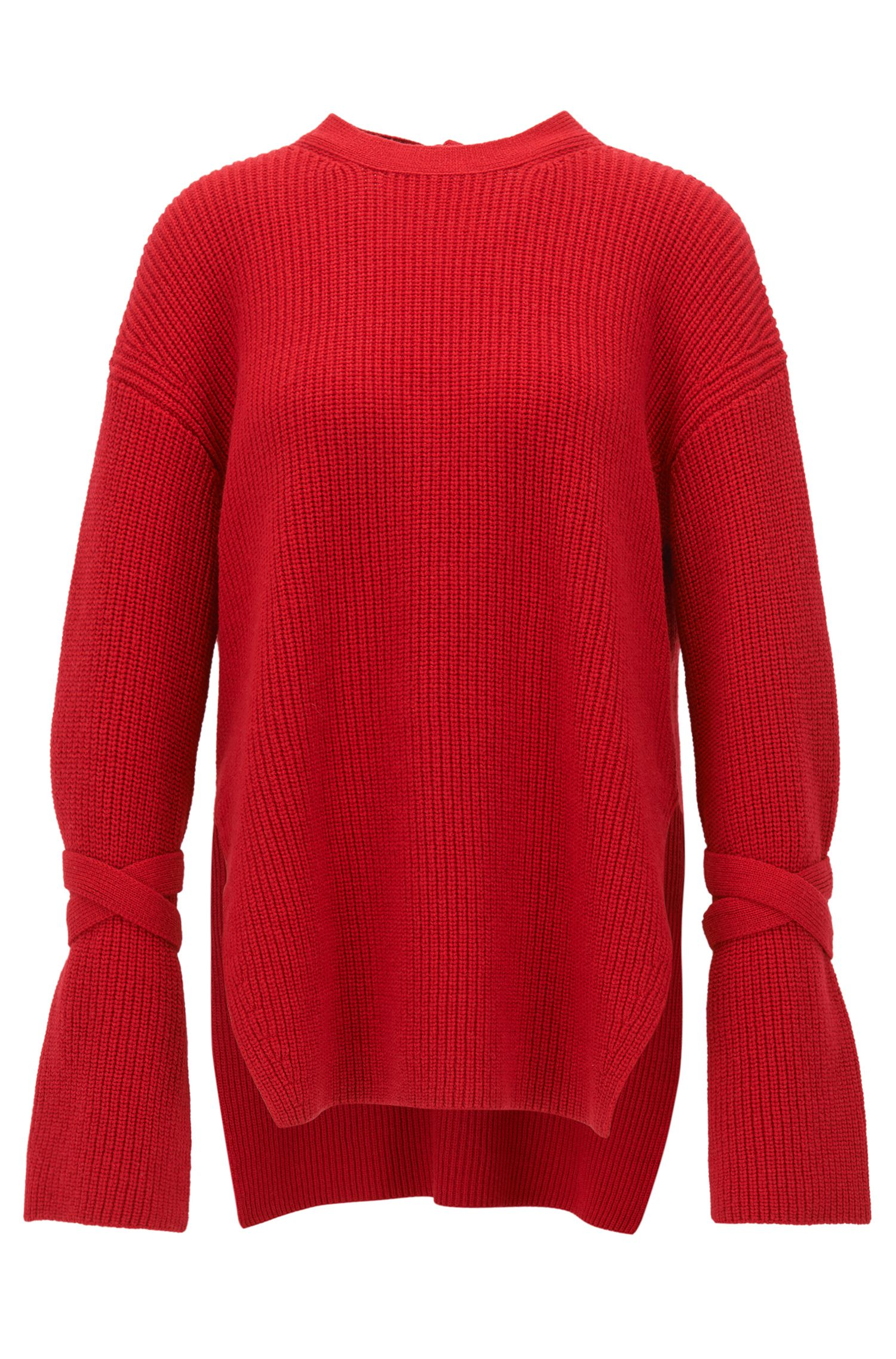 Relaxed-fit wool-blend sweater with feature cuffs