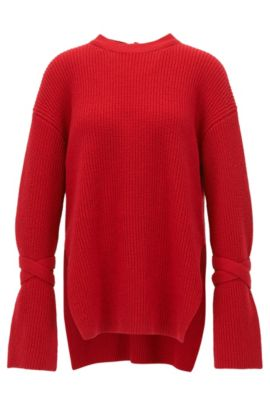 Relaxed-fit wool-blend sweater with feature cuffs, Red