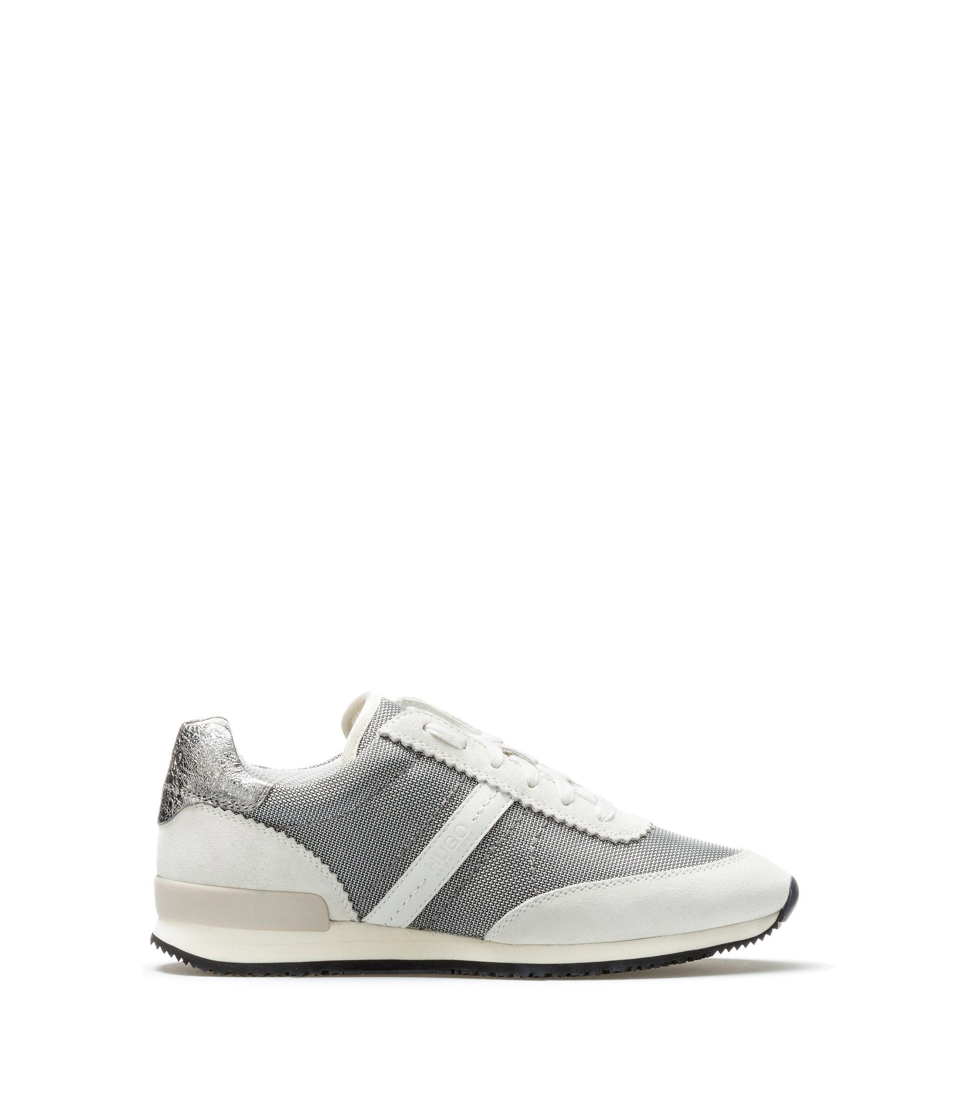 Low-top trainers in soft suede, Silver