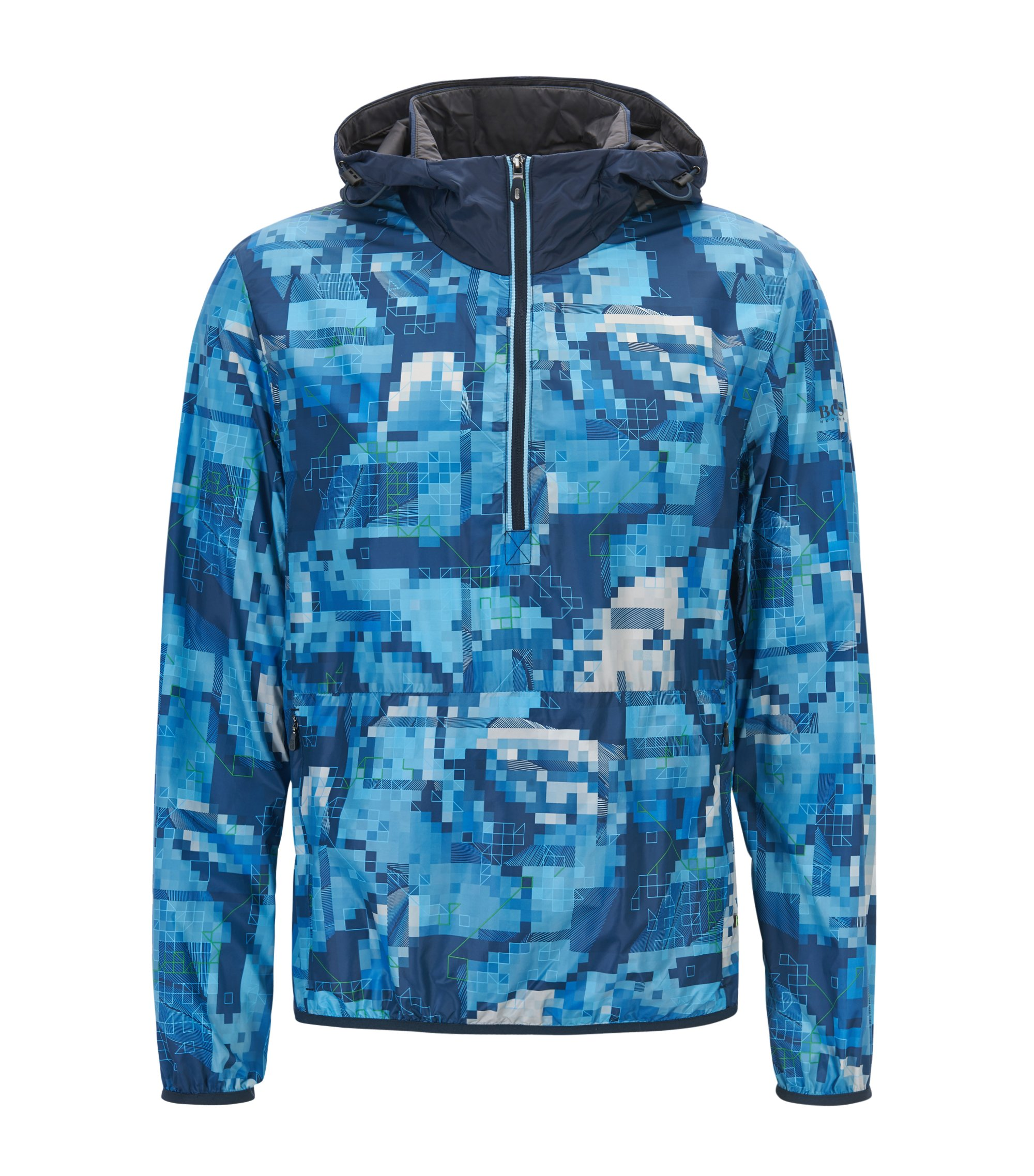 Hooded jacket in water-resistant technical fabric, Blue