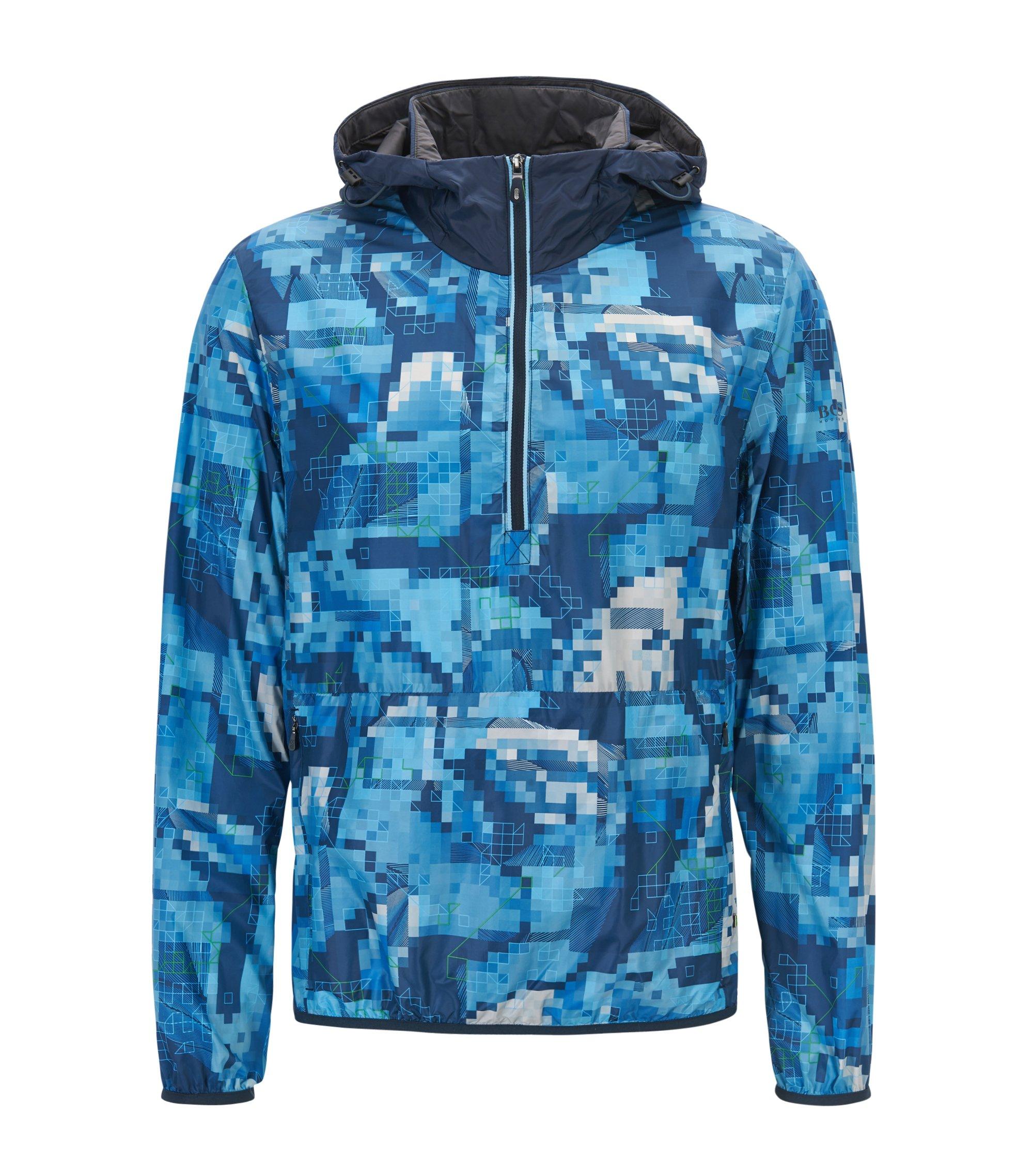 Wasserabweisende Jacke mit Kapuze, Blau