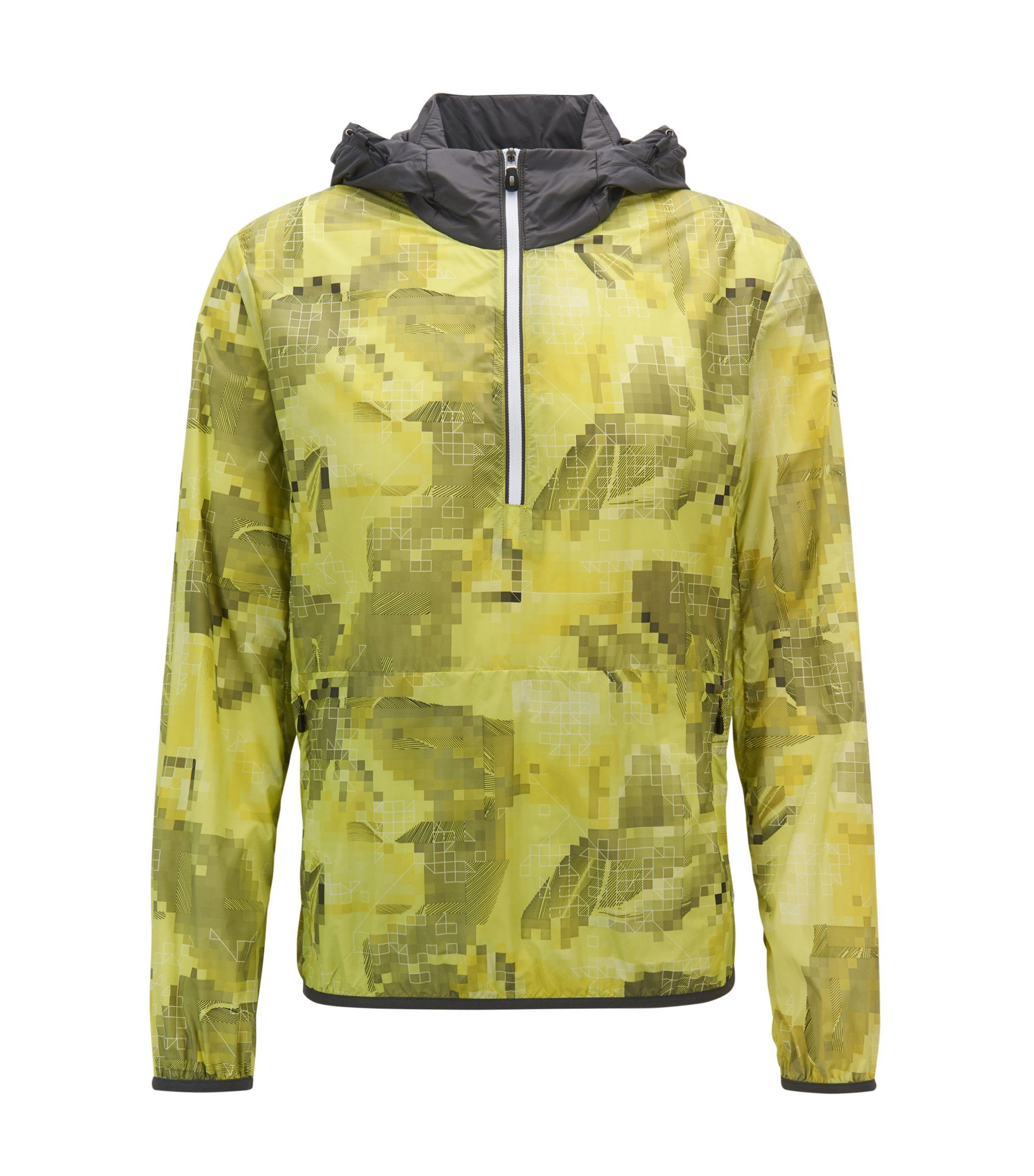 Hooded jacket in water-resistant technical fabric, Yellow