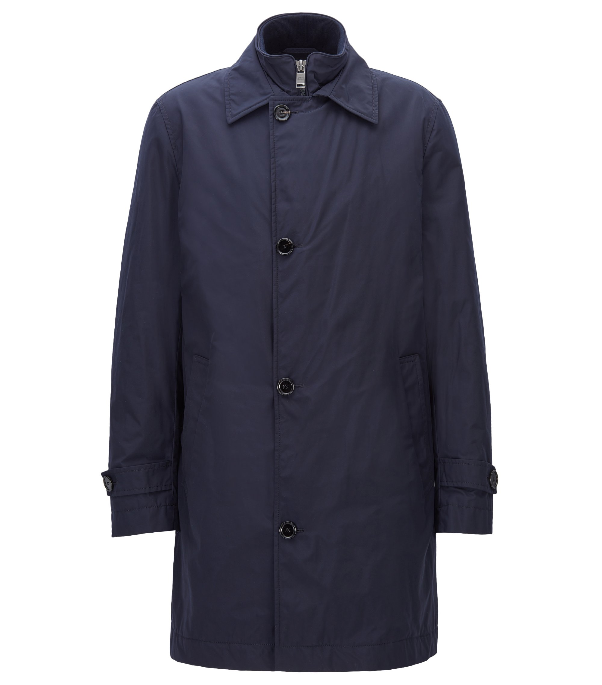 Cappotto slim fit in tessuto tecnico idrorepellente, Blu scuro
