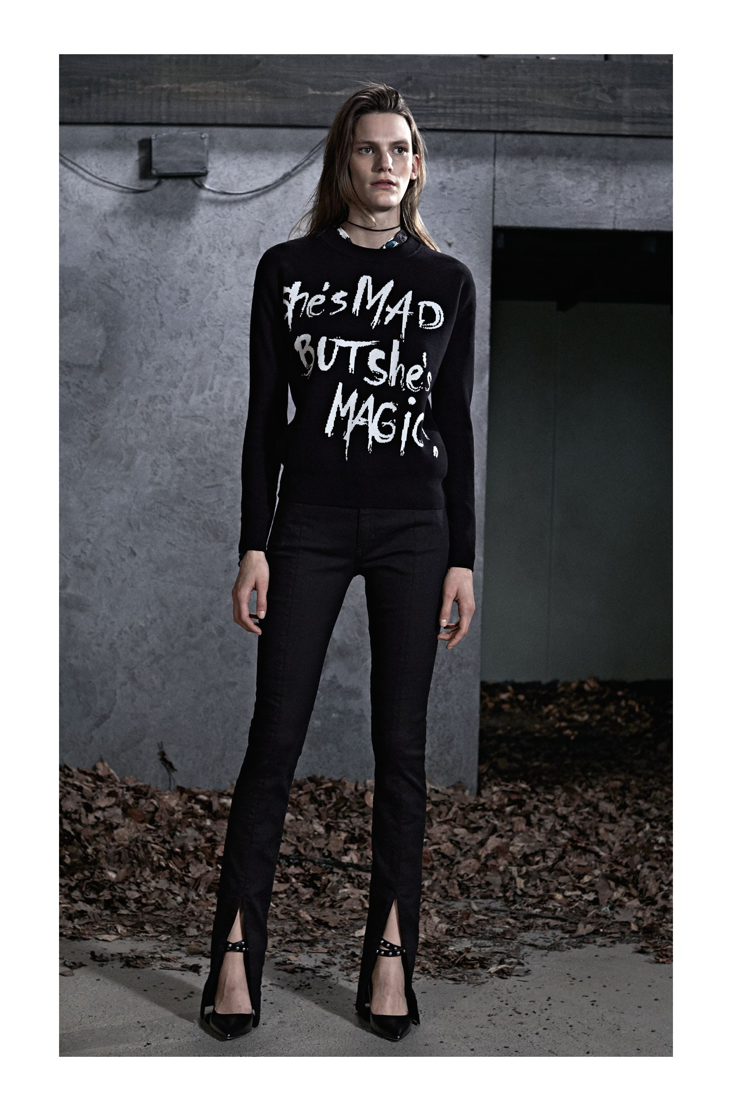 Slogan sweater in a cotton blend