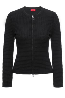 Slim-fit zip-through jacket in 3D waffle fabric, Zwart