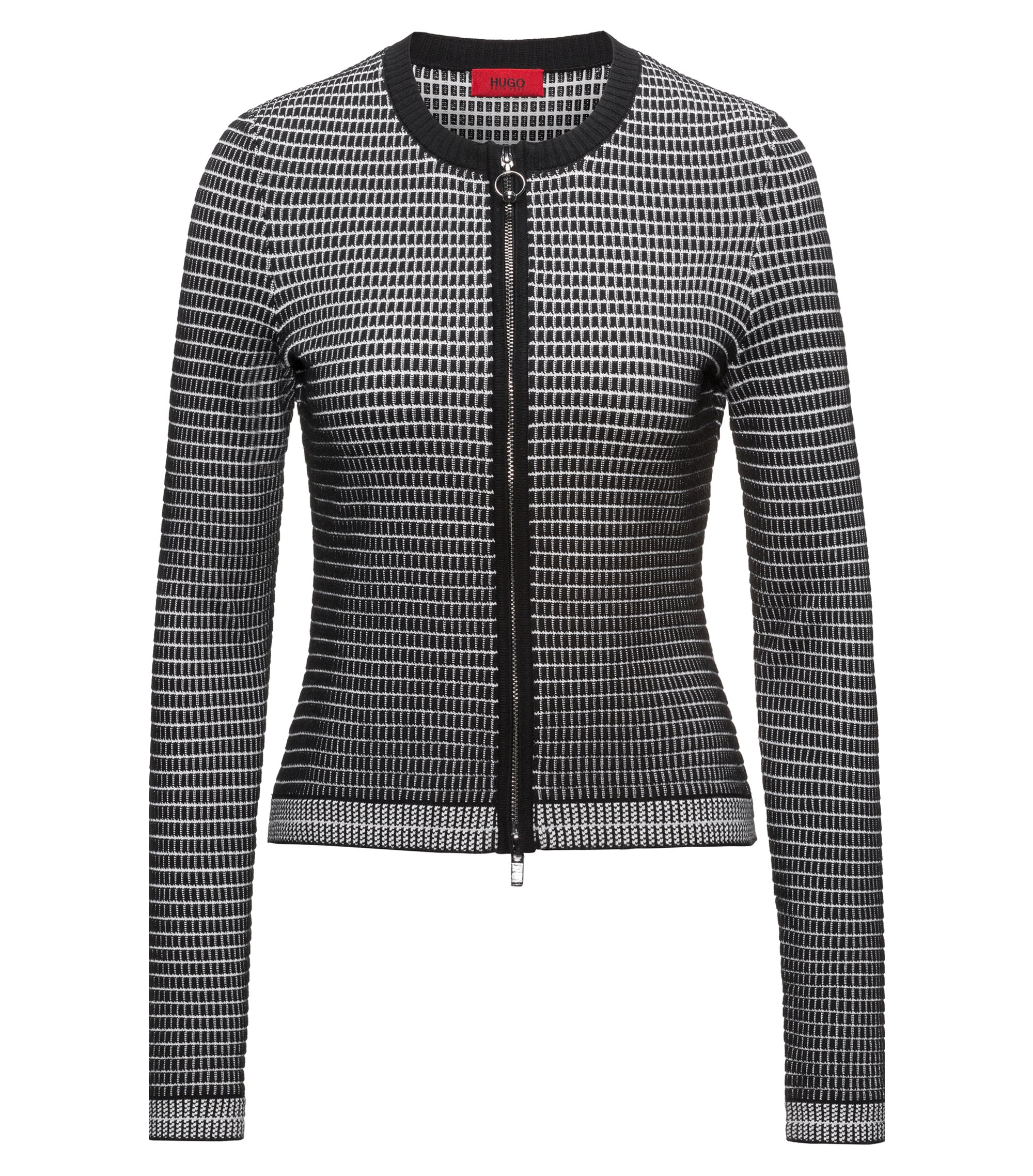 Slim-fit zip-through jacket in 3D waffle fabric, Patterned