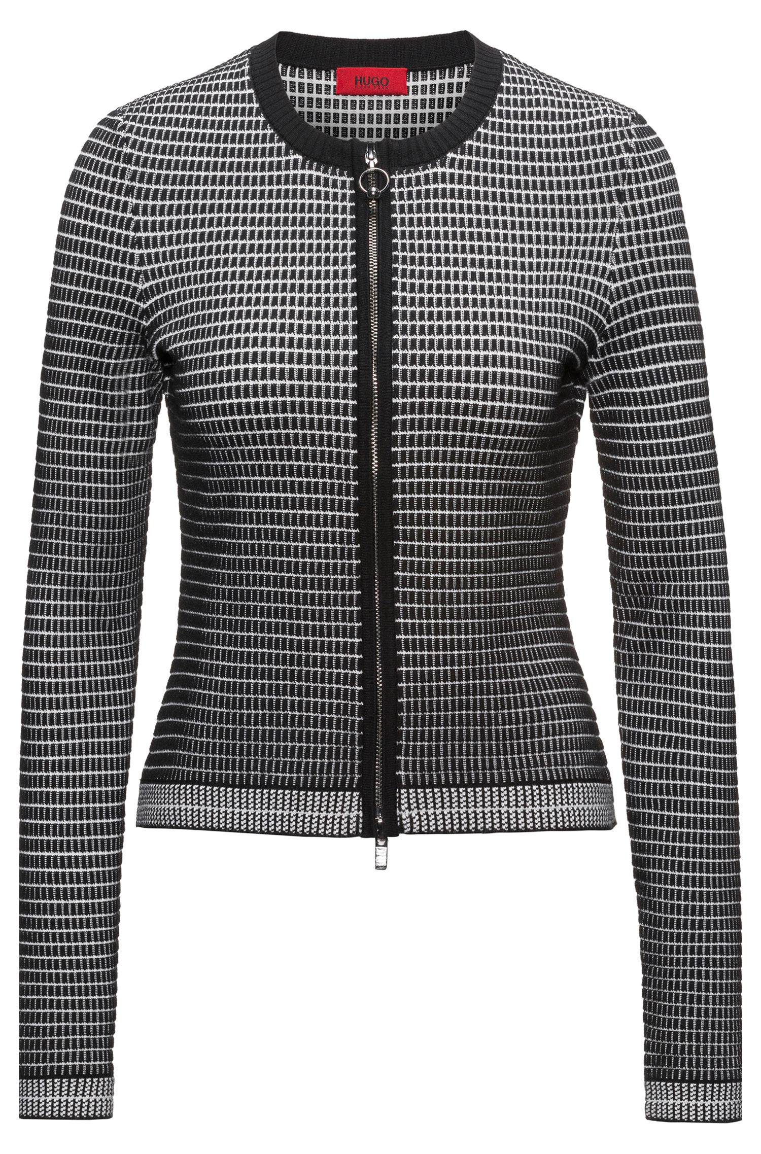 Slim-Fit Jacke aus Material-Mix mit Seide mit Waffelstruktur in 3D-Optik