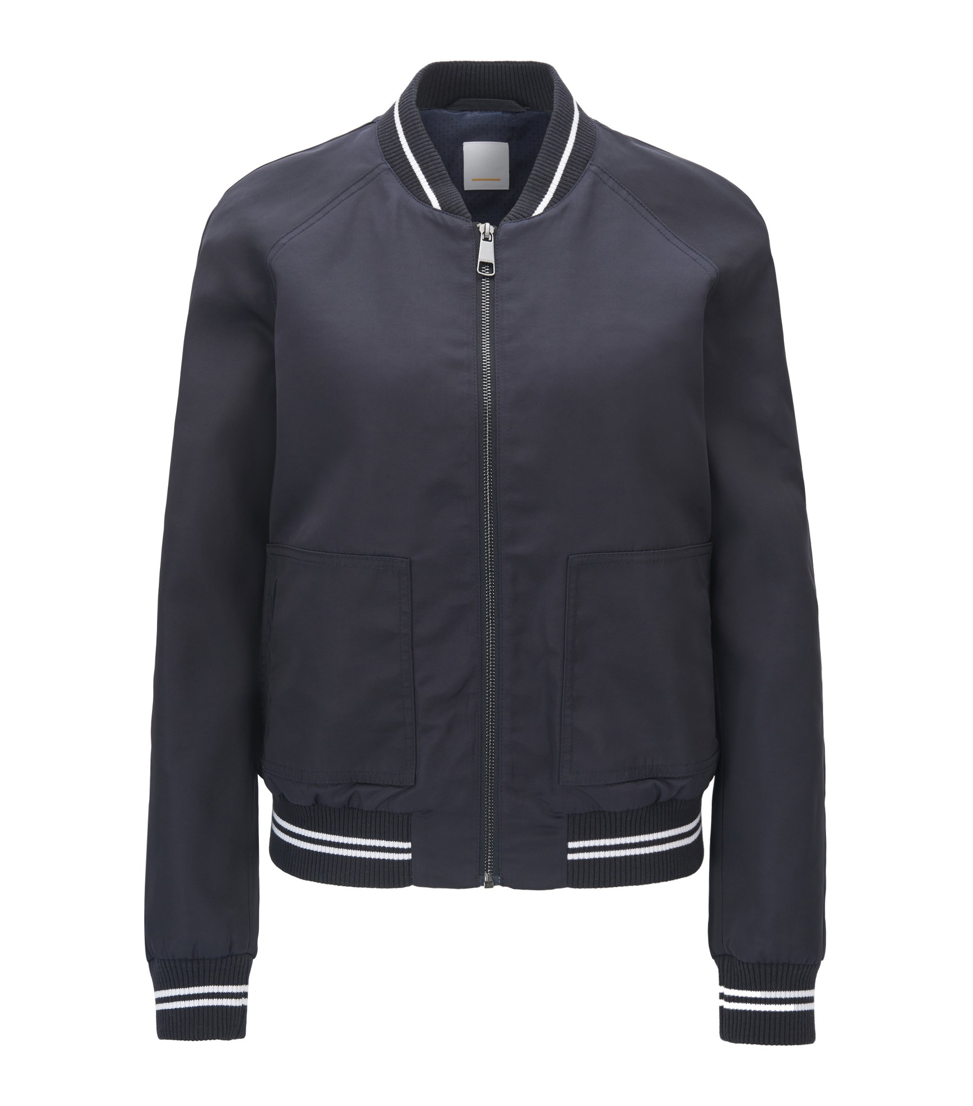 Water-repellent bomber jacket with striped ribbing, Dark Blue