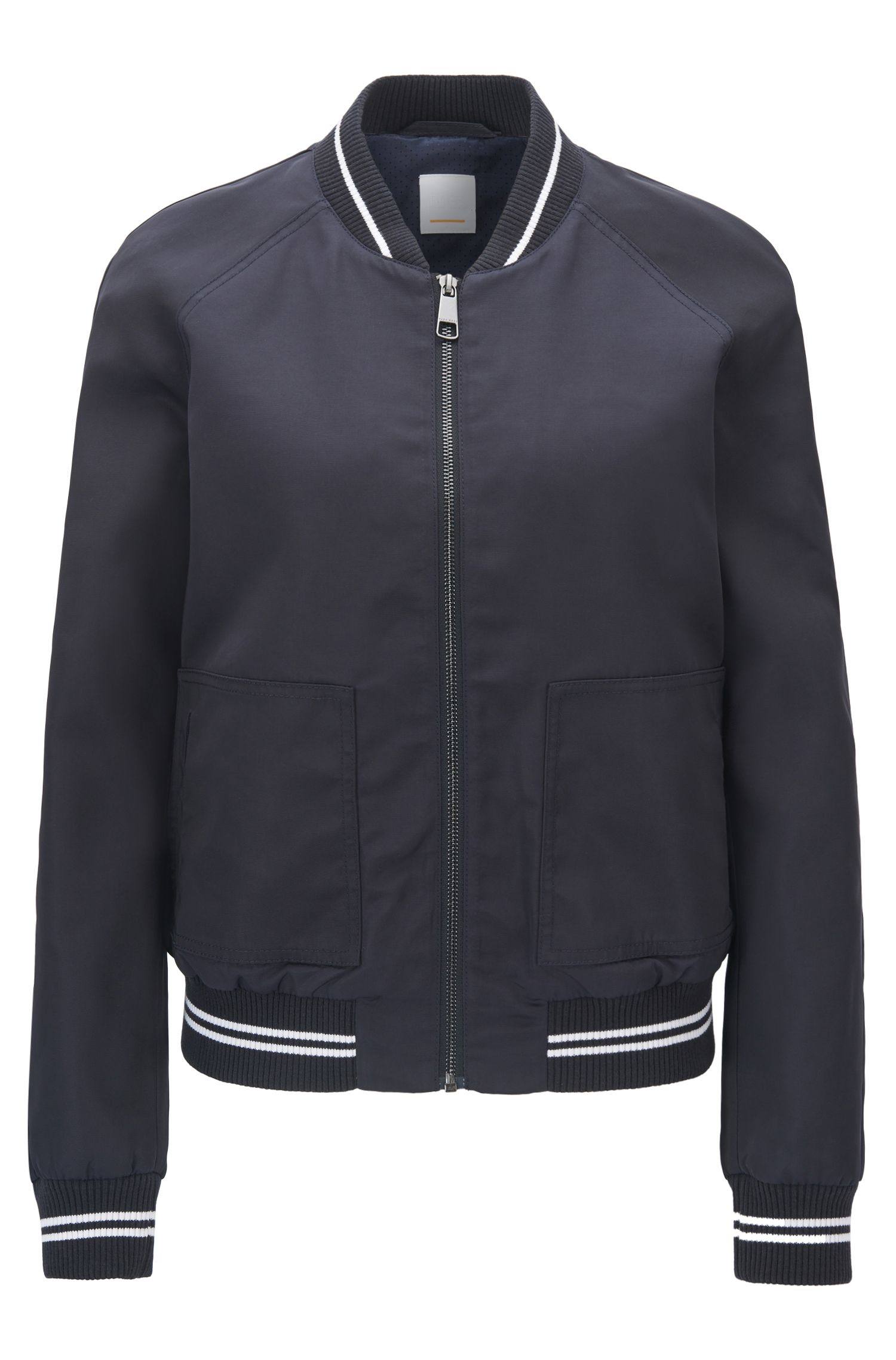 Water-repellent bomber jacket with striped ribbing