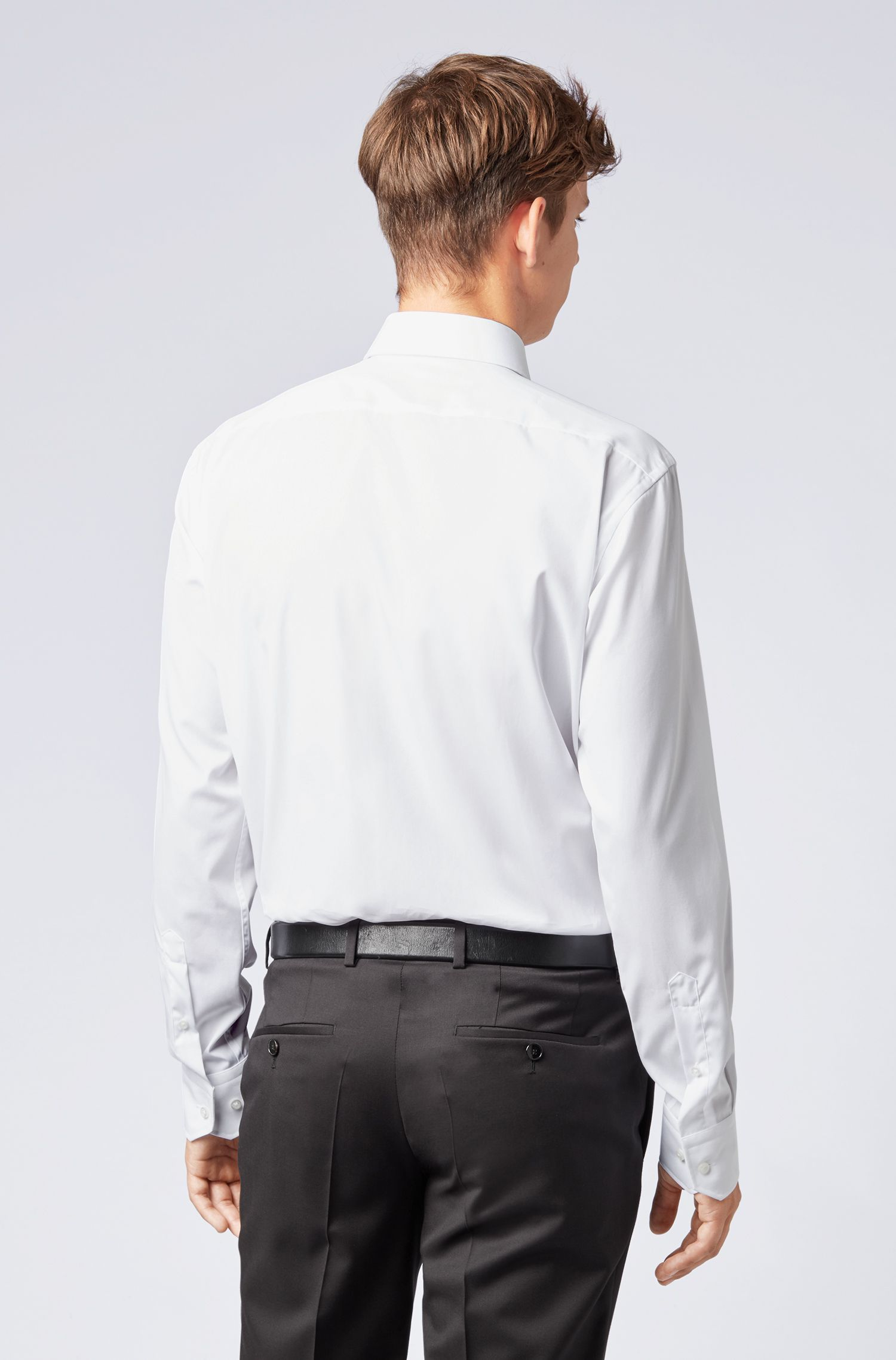 Regular-fit shirt in easy-iron cotton poplin, White