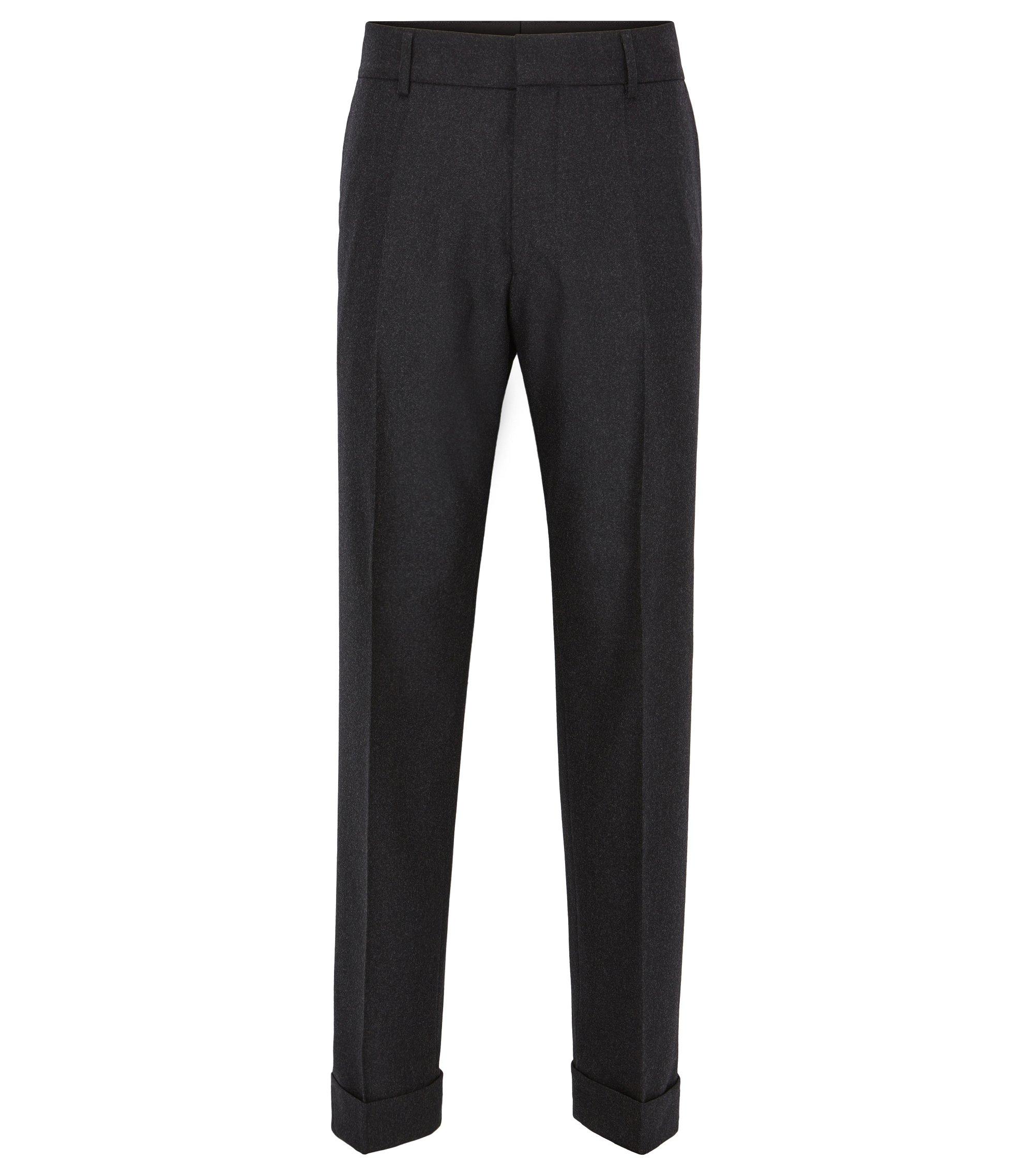 Oversized-fit broek met boorden aan de pijpen, van een wolmix met stretch, Donkergrijs