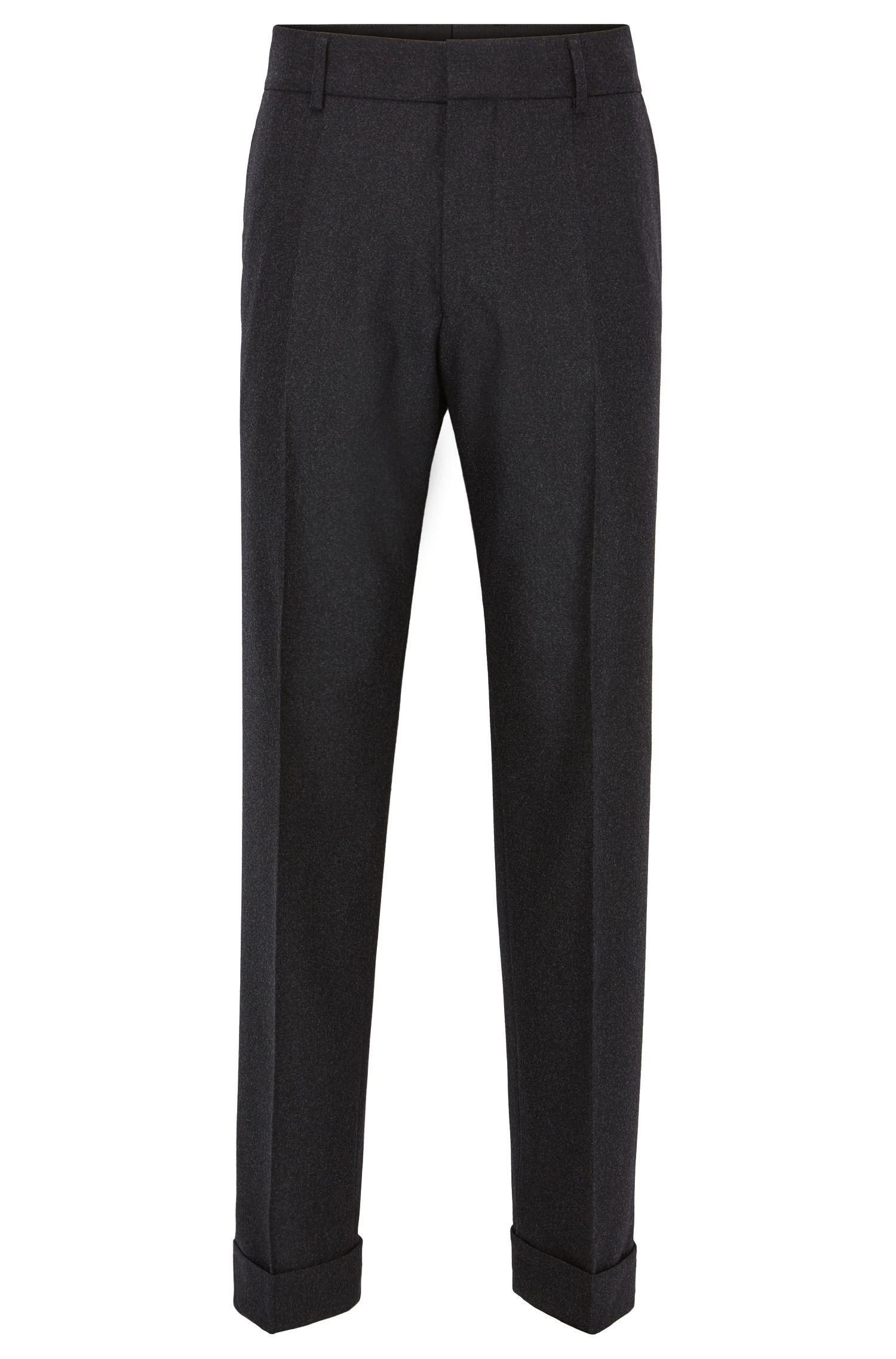 Pantalon à revers oversize en laine stretch mélangée