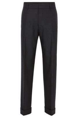 Pantalon à revers oversize en laine stretch mélangée, Gris sombre