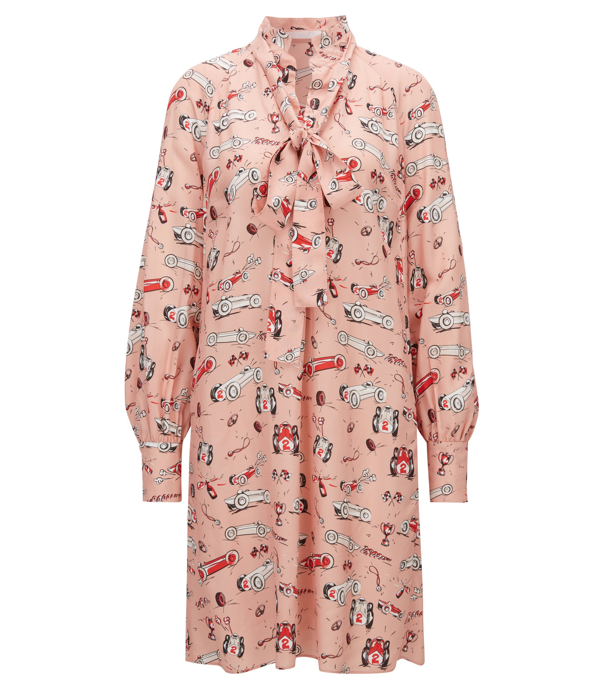 Race-car print long-sleeved dress with bow neckline, Patterned