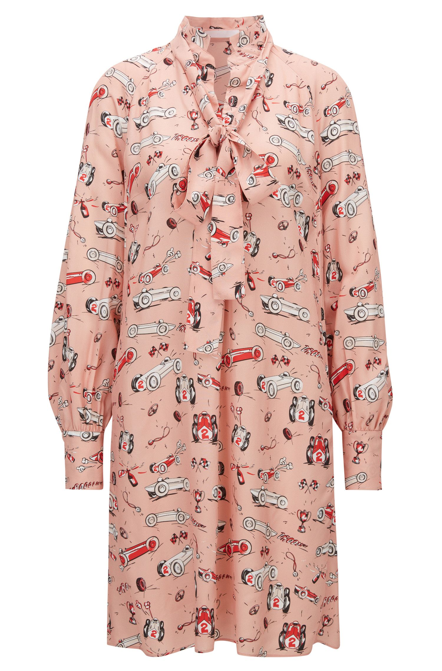 Race-car print long-sleeved dress with bow neckline
