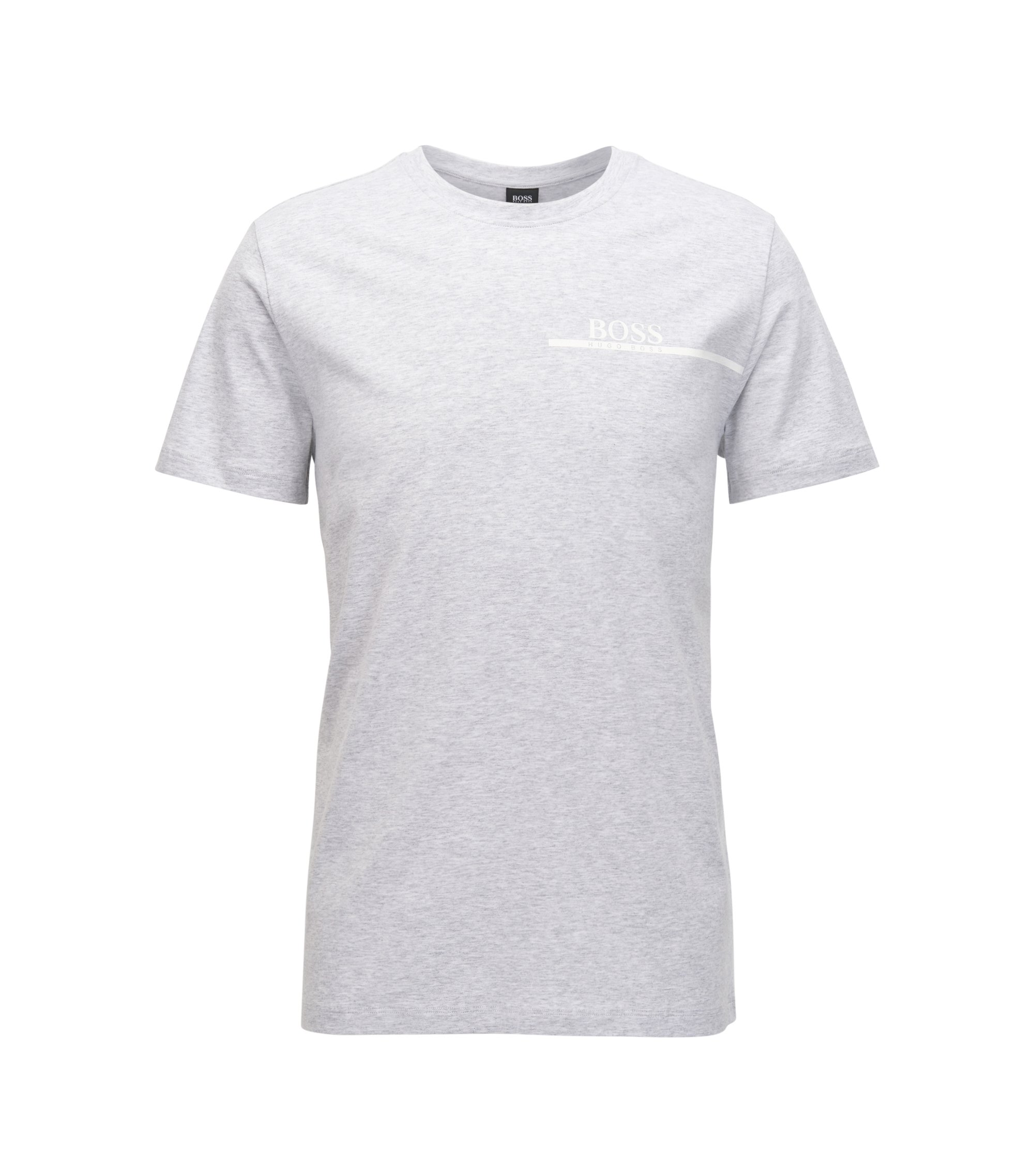 T-shirt relaxed fit in cotone con logo stampato, Argento
