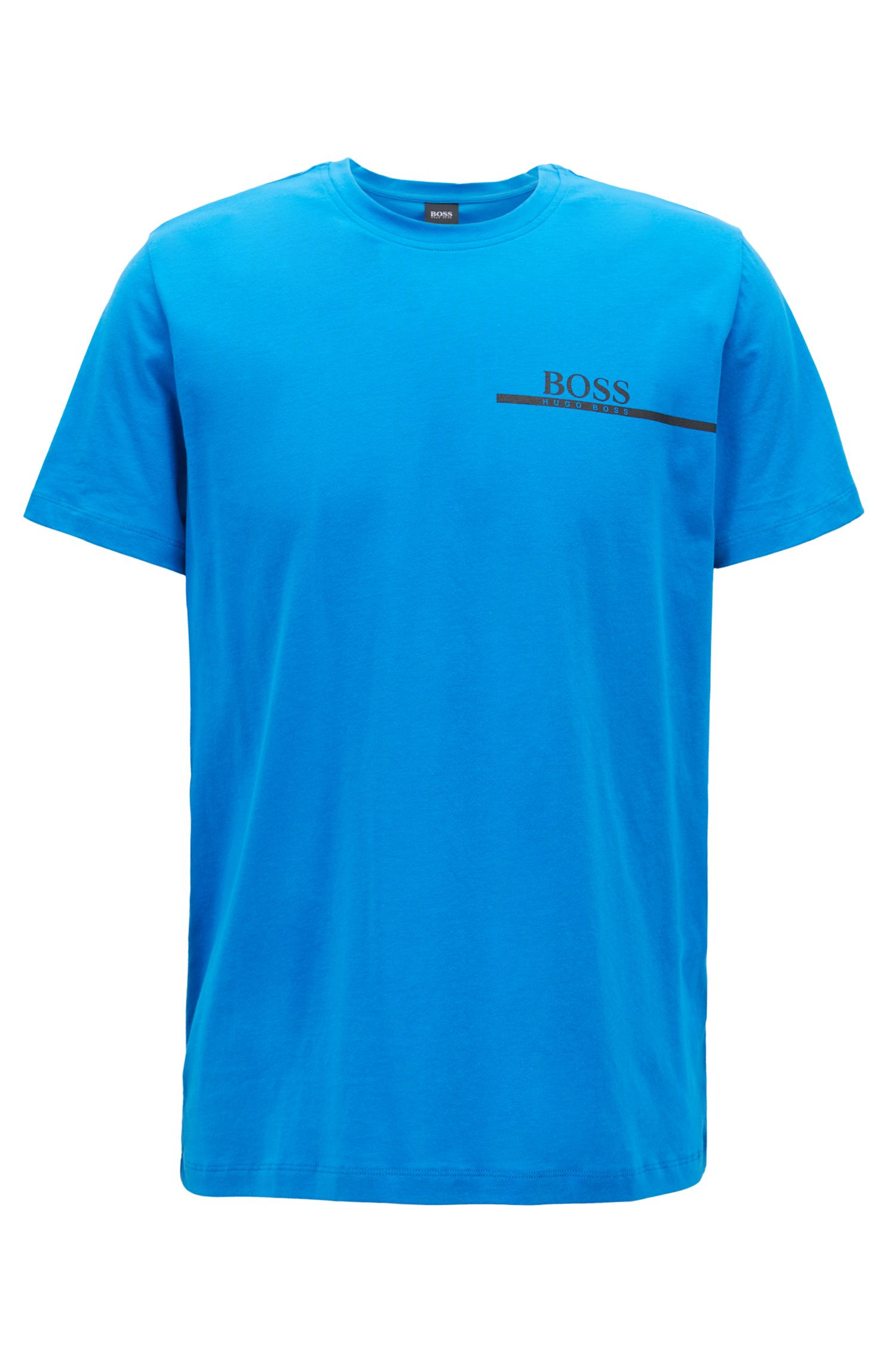Relaxed-Fit T-Shirt aus Single Jersey mit Logo-Print, Blau