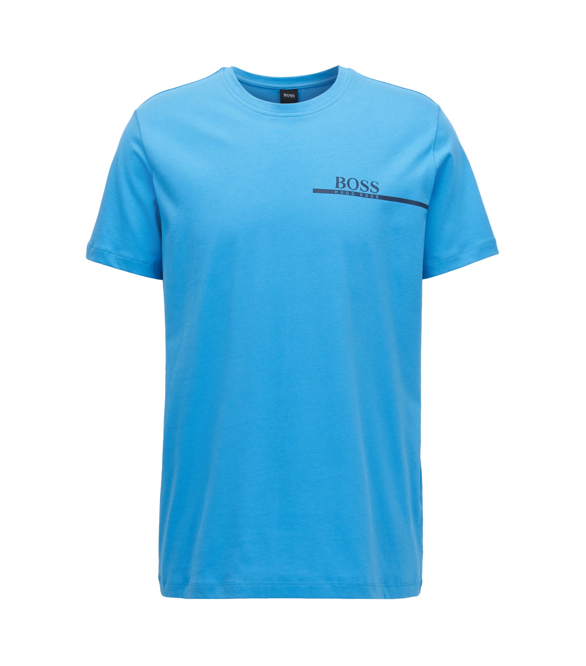 Relaxed-fit cotton T-shirt with logo print, Blue