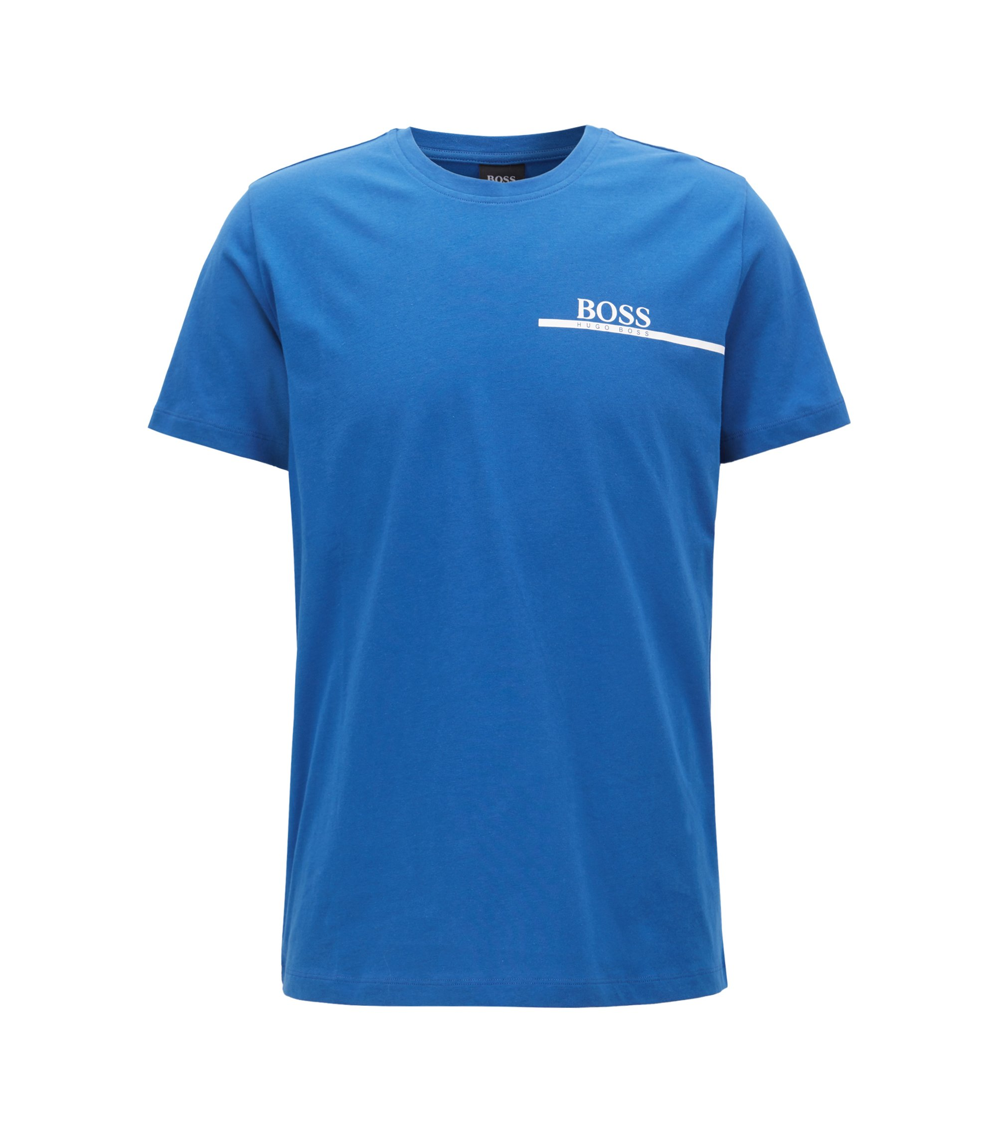 T-shirt relaxed fit in cotone con logo stampato, Blu