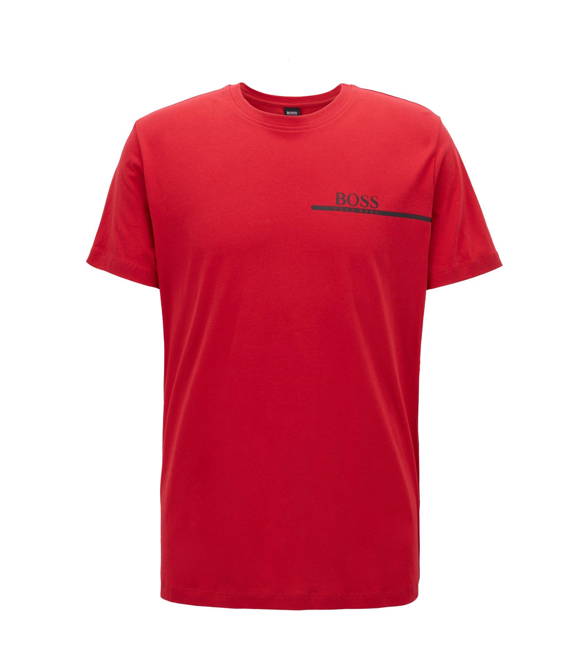 Camiseta relaxed fit de algodón con logo estampado, Rojo