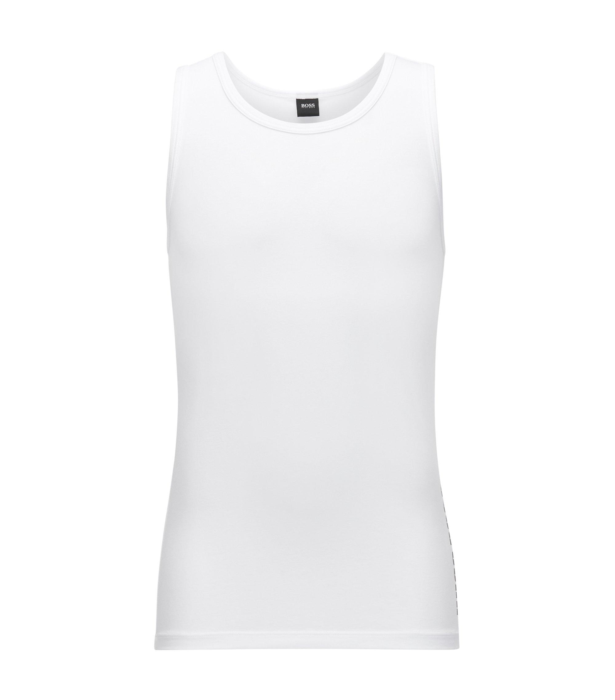 Unterhemd aus Single-Jersey mit tiefem Rundhalsausschnitt und Logo-Print, Weiß