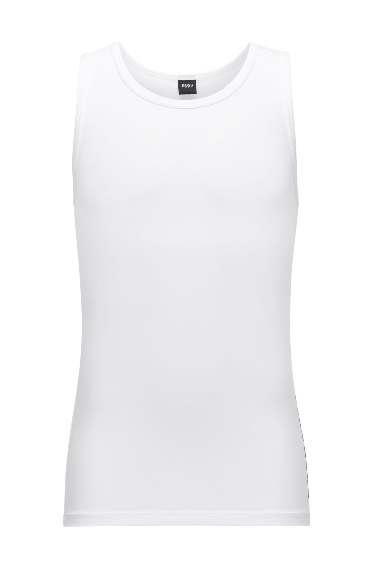 Camiseta sin mangas en punto sencillo con logo y pronunciado cuello redondo
