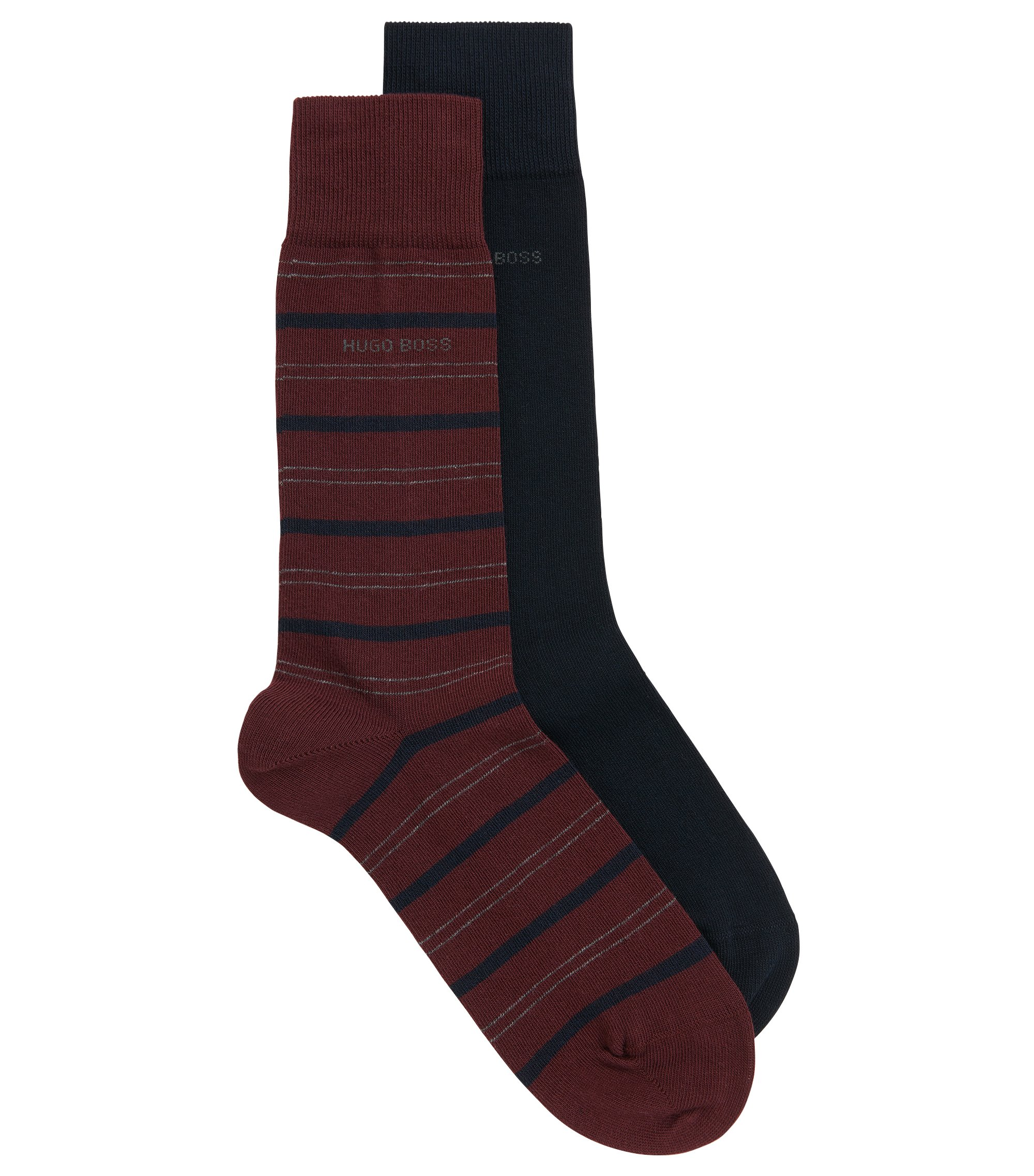 Two-pack of regular-length socks in a combed cotton blend, Dark Red