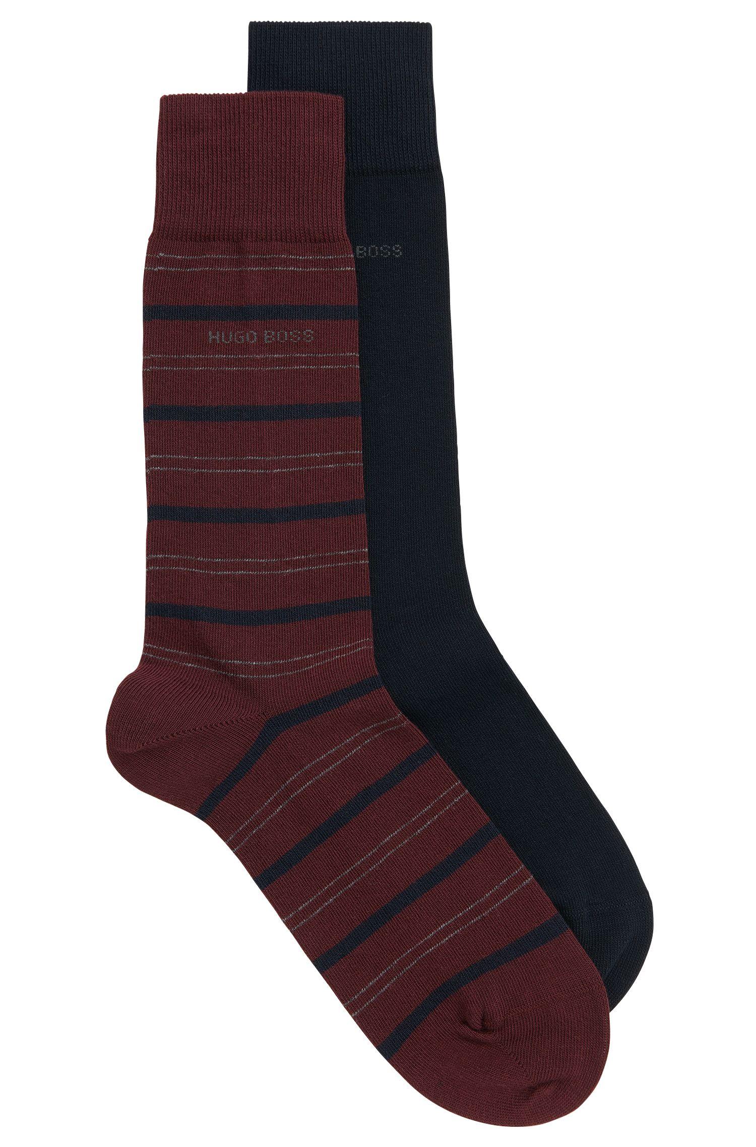 Zweier-Pack mittelhohe Socken aus gekämmtem Baumwoll-Mix mit Elasthan