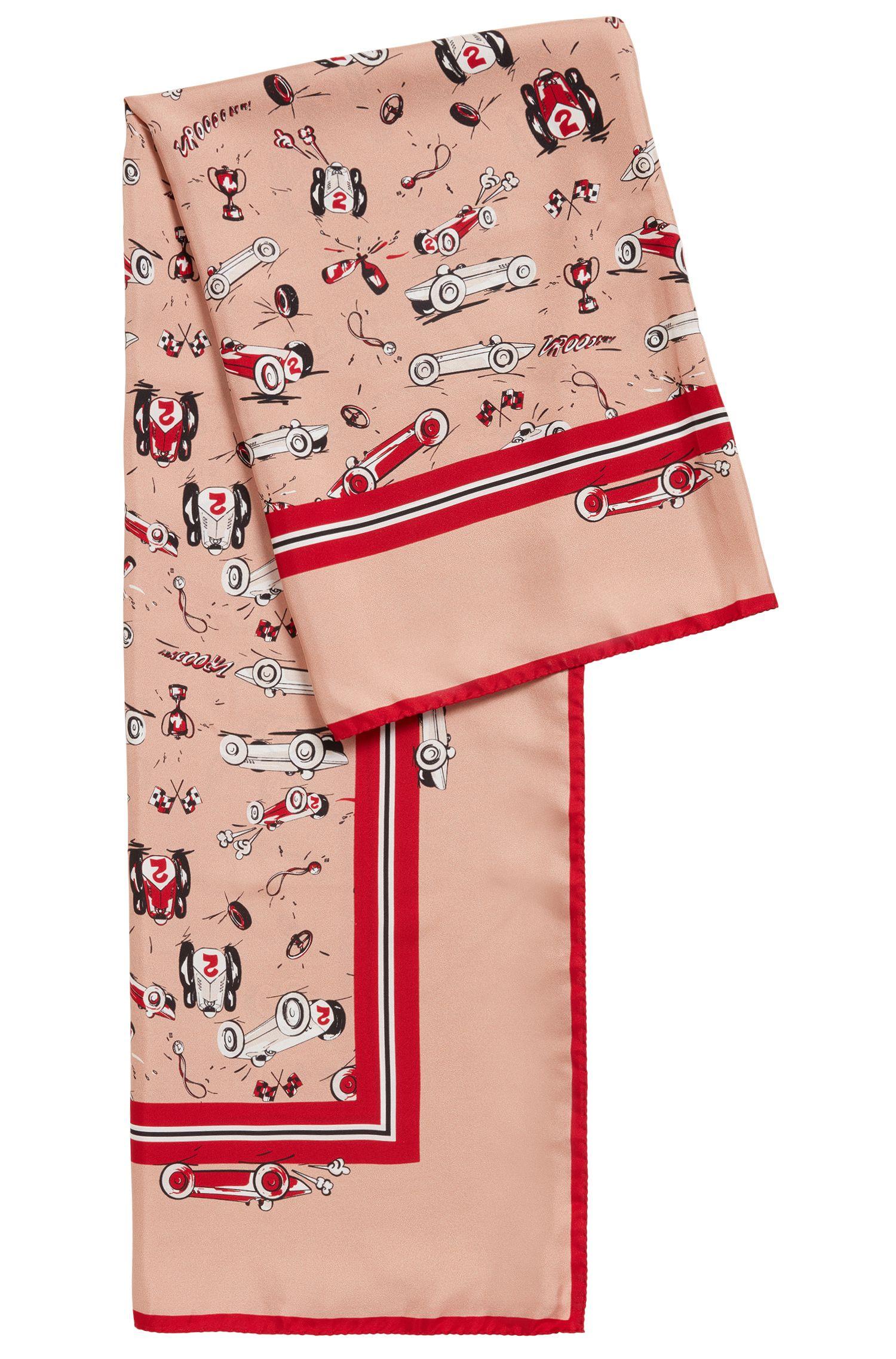 Foulard en soie imprimée aux surpiqûres caractéristiques