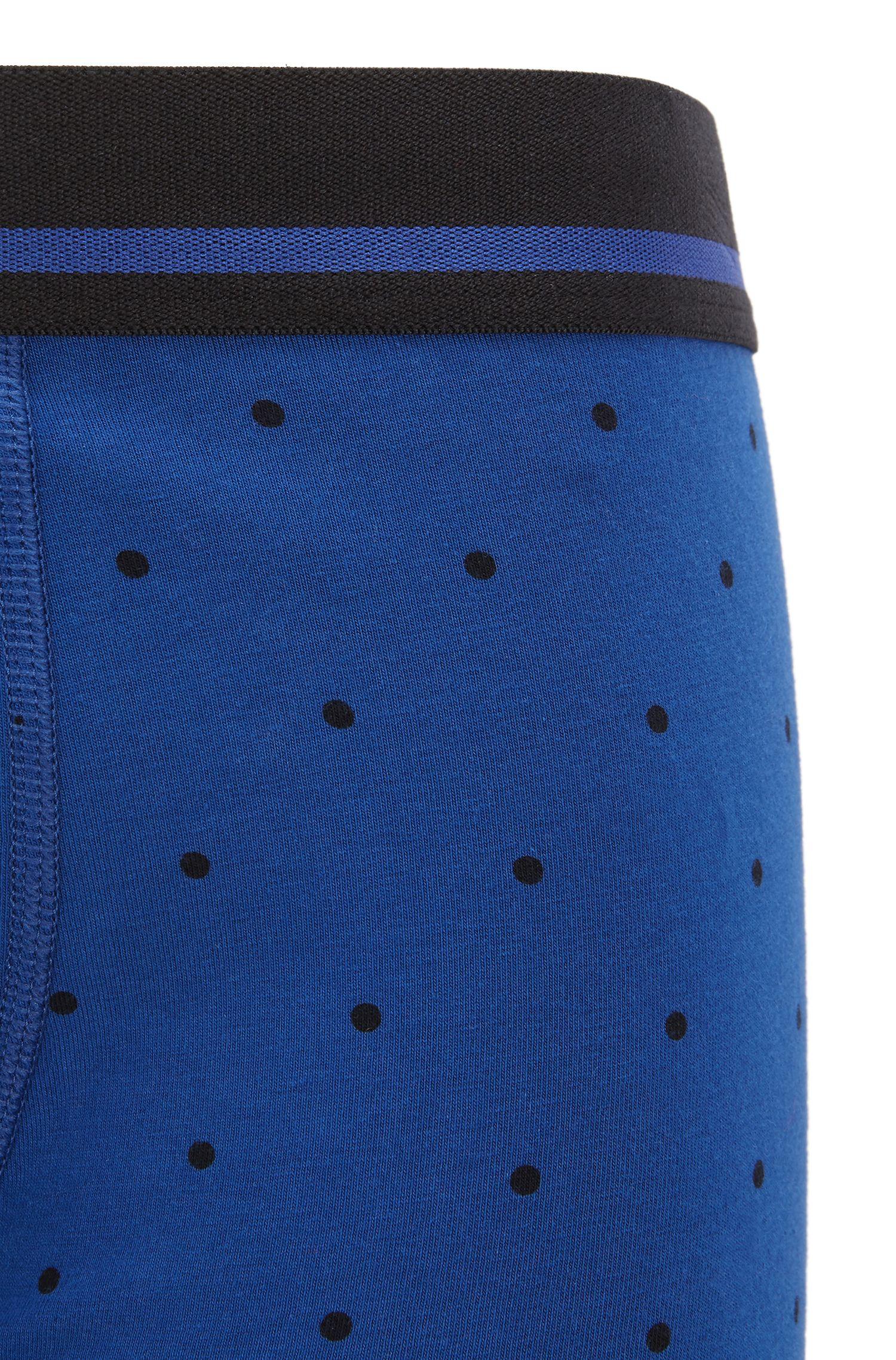 Straight-cut boxerslip van stretchkatoen met print , Blauw