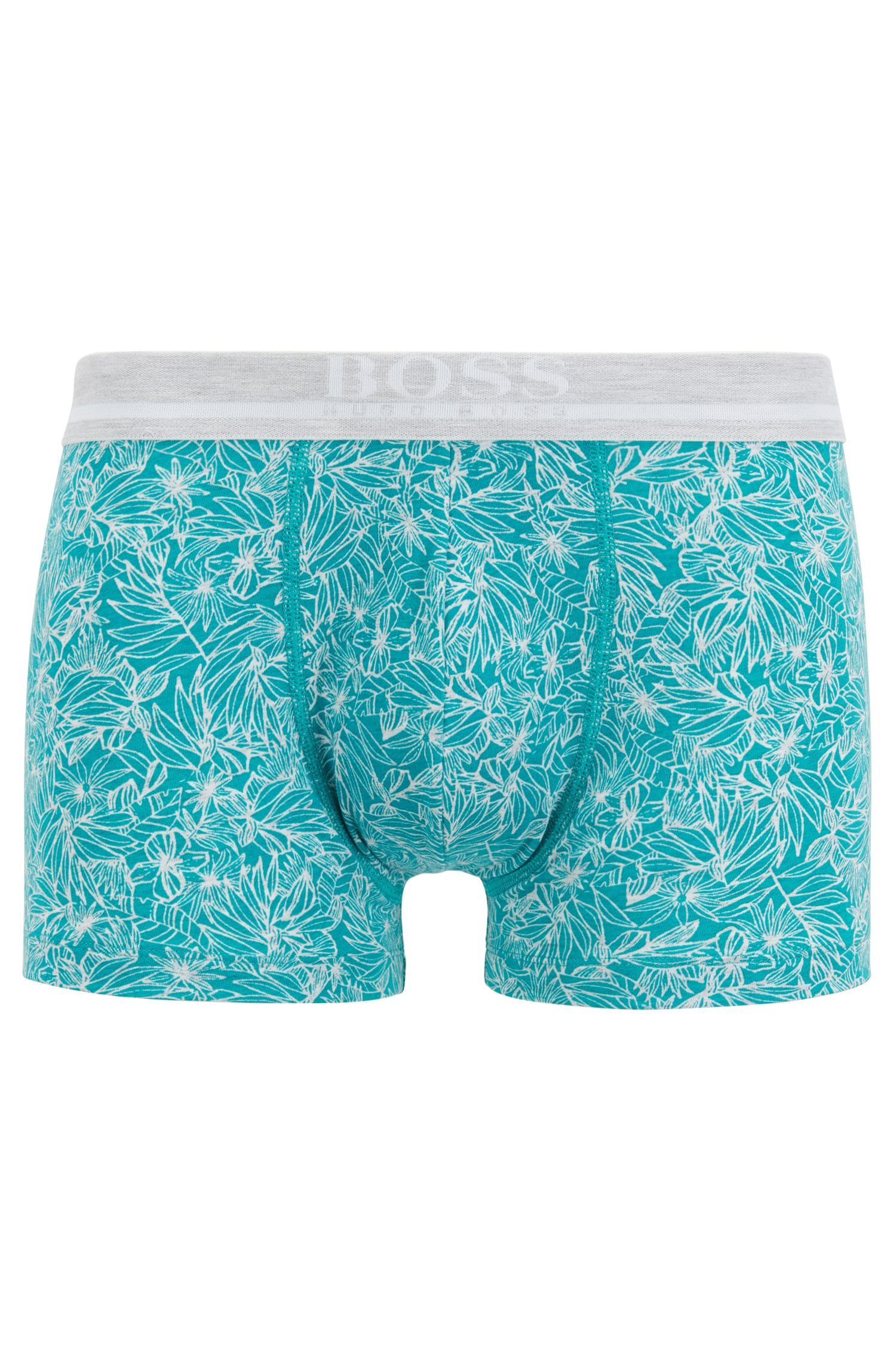 Straight-cut boxer-briefs in printed stretch cotton , Open Blue