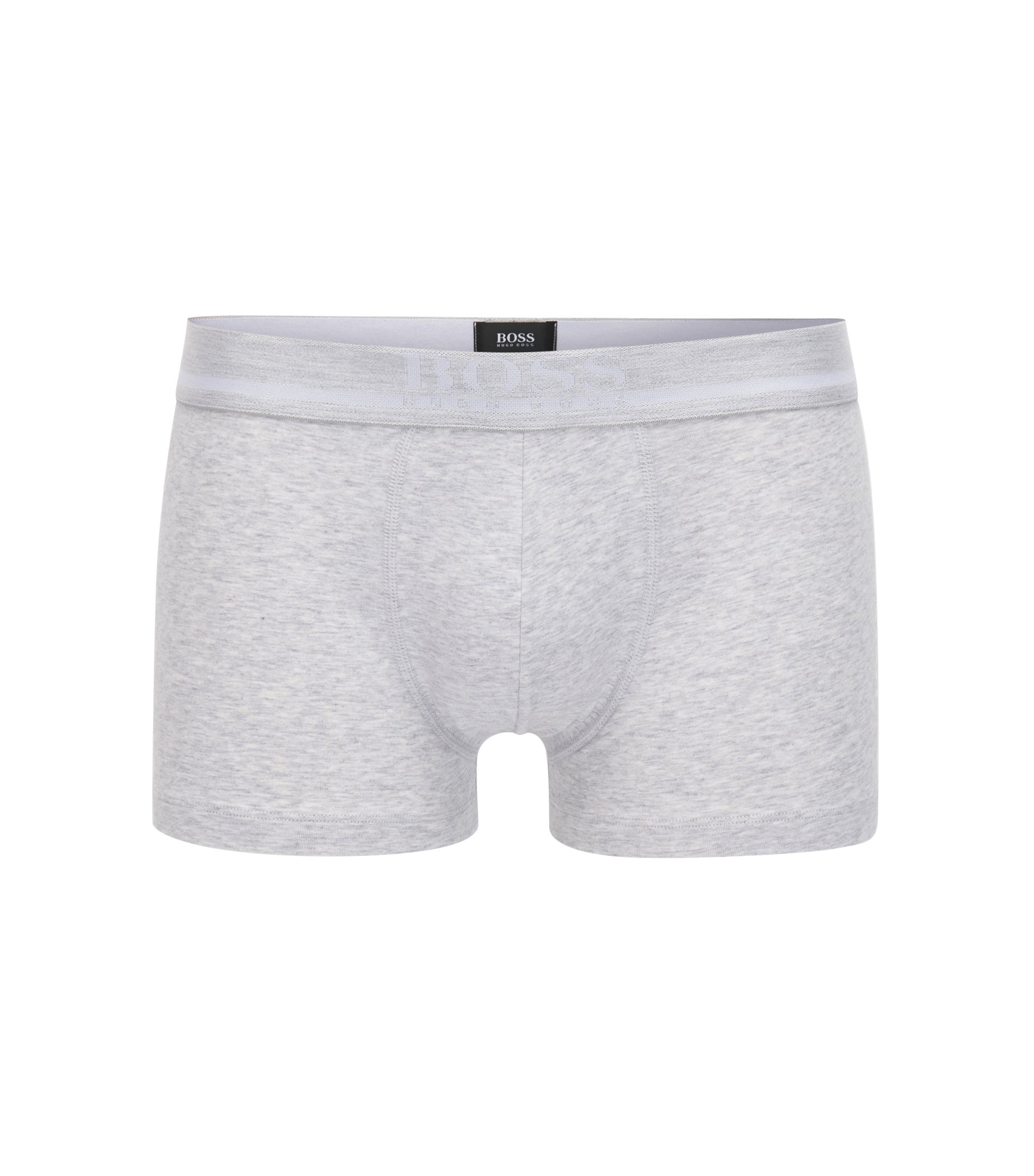 Straight-cut boxer-briefs with jacquard logo, Silver