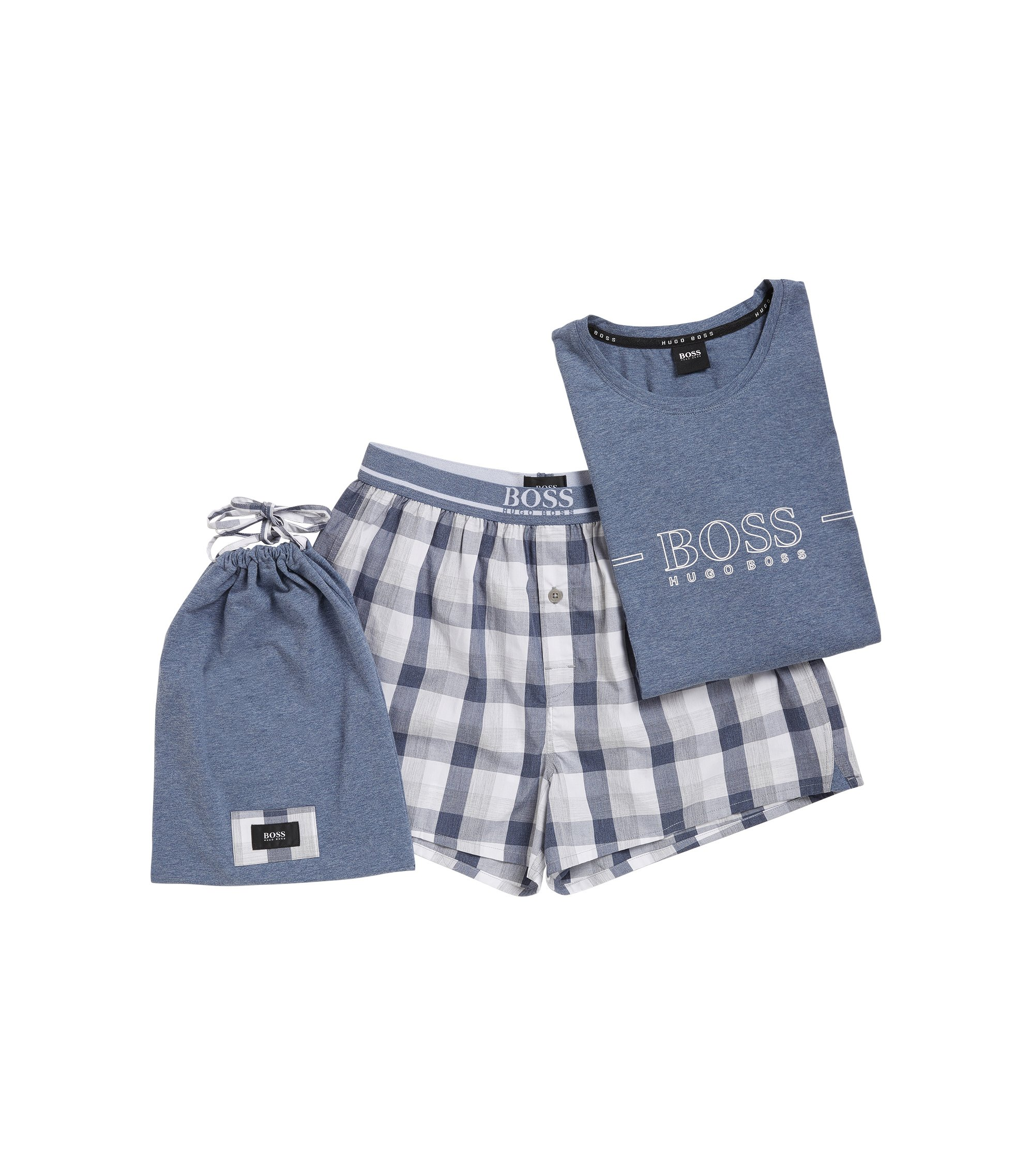 Pyjama set in yarn-dyed cotton poplin, Open Blue