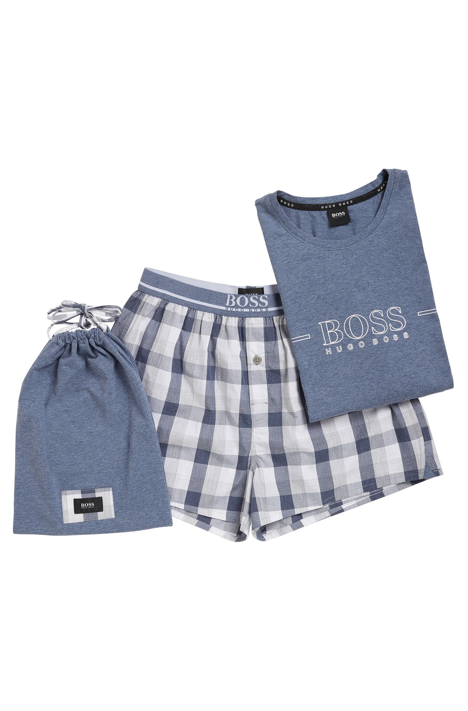 Conjunto de pijama en popelín de algodón teñido en hilo