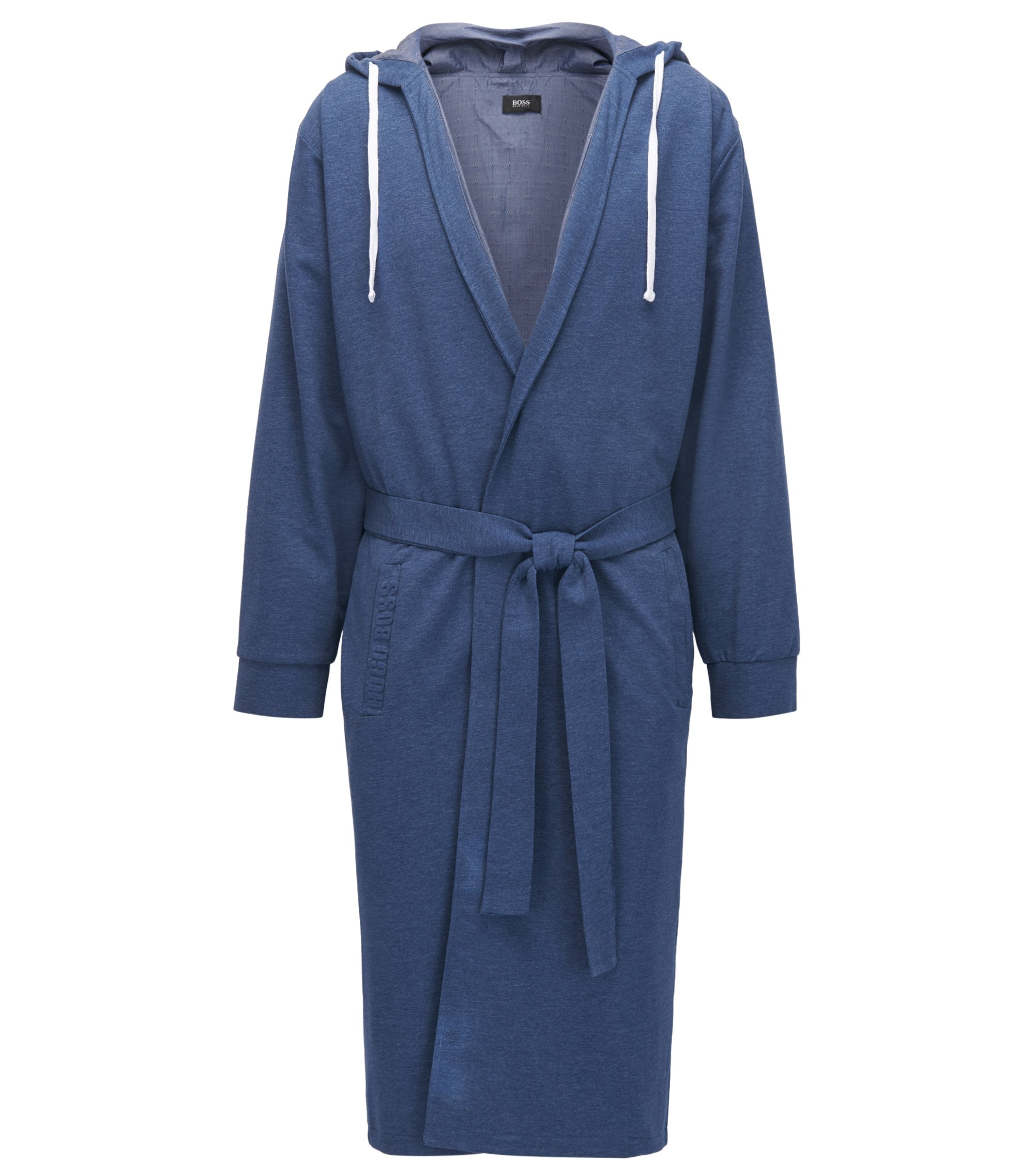 Hooded dressing gown in mélange French terry, Dark Blue