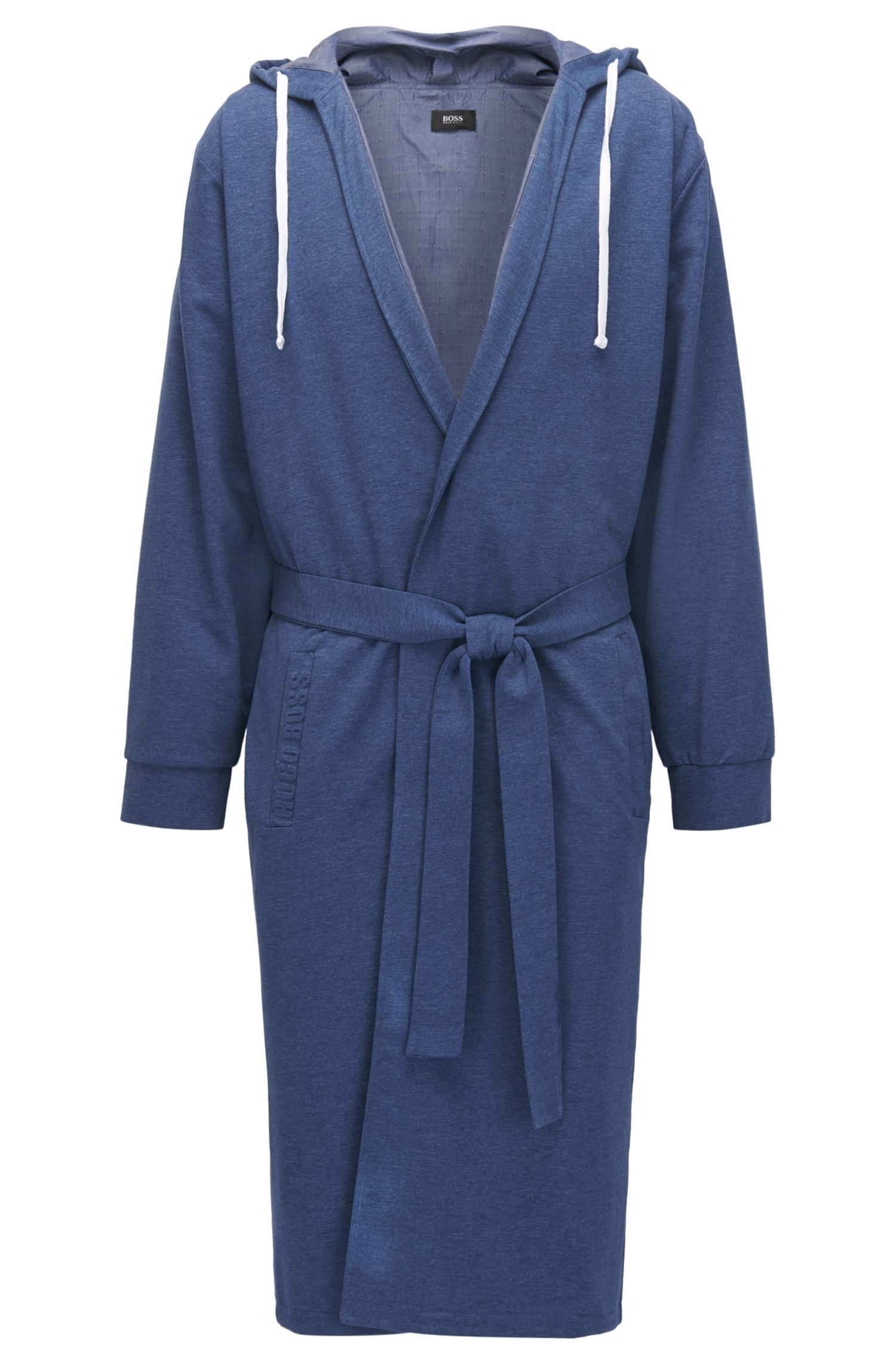 Hooded dressing gown in mélange French terry