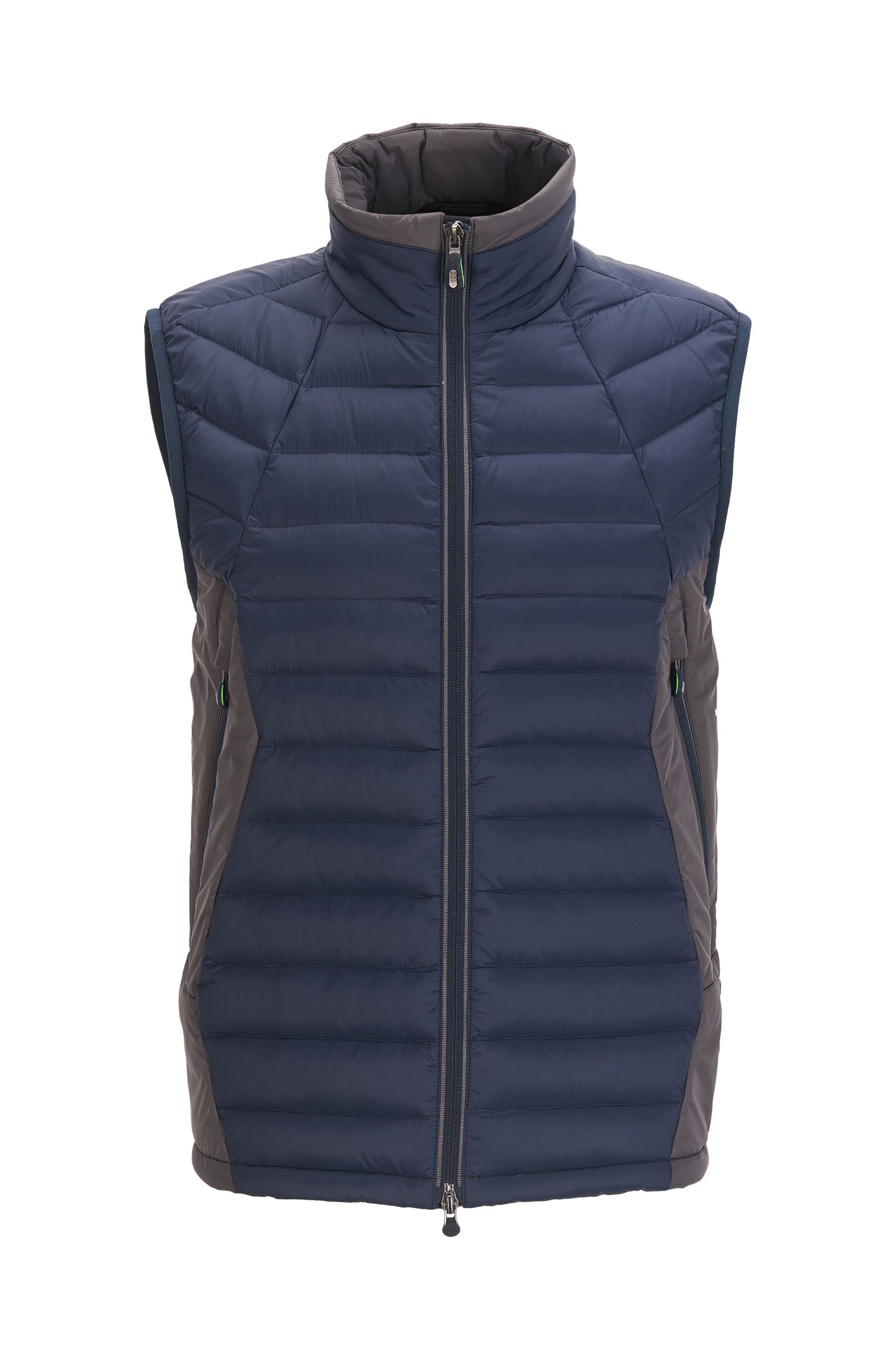 Padded gilet in water-repellent technical fabric