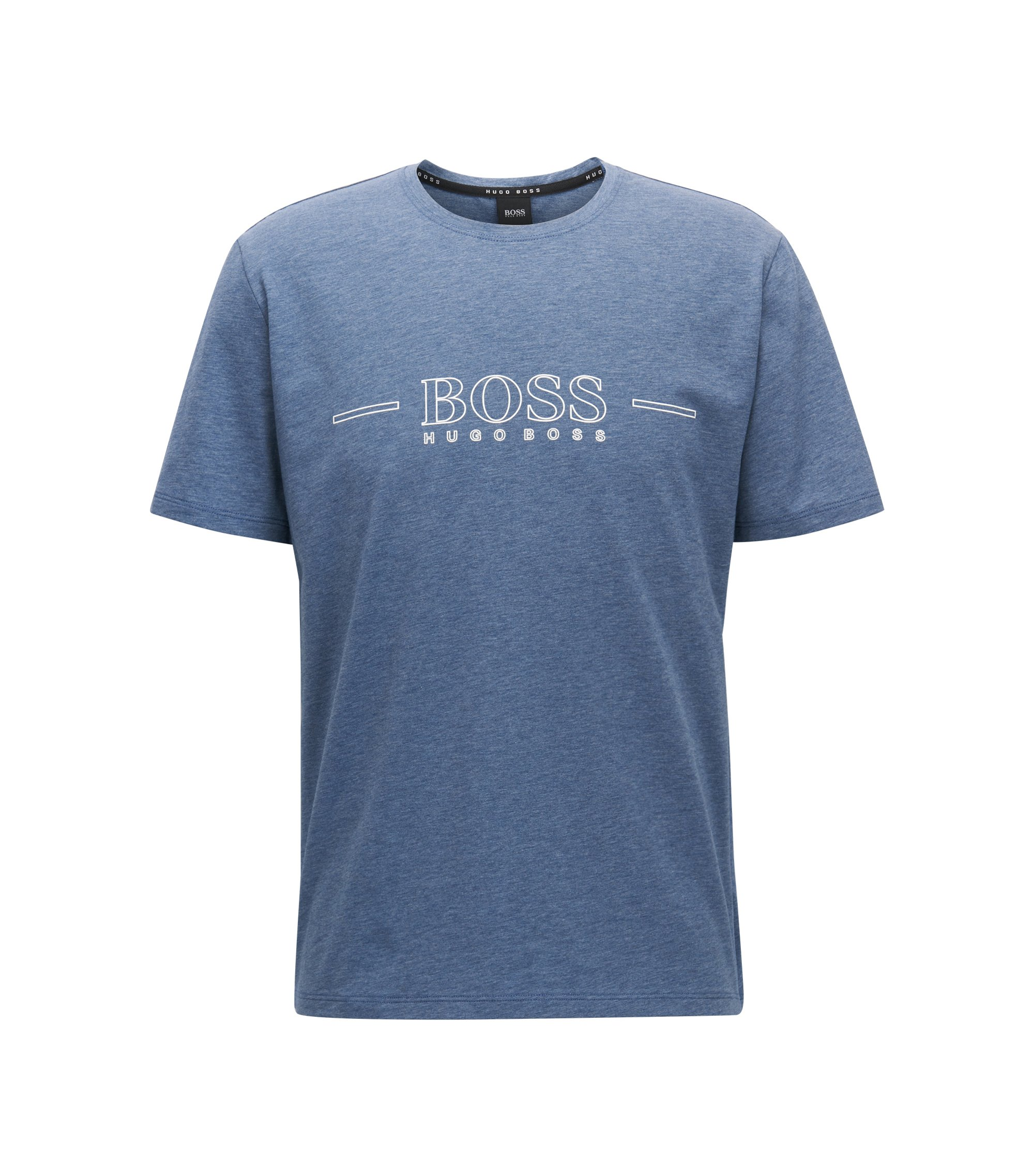Logo pyjama T-shirt in stretch single jersey, Open Blue
