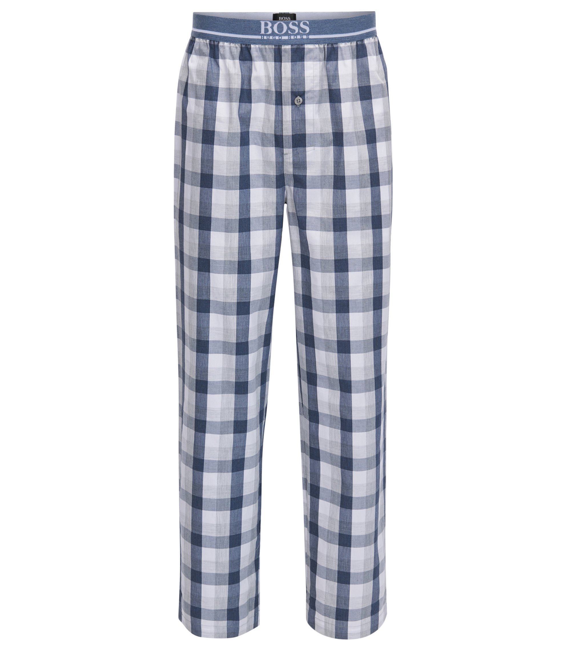 Pyjama bottoms in denim-check cotton poplin, Dark Blue