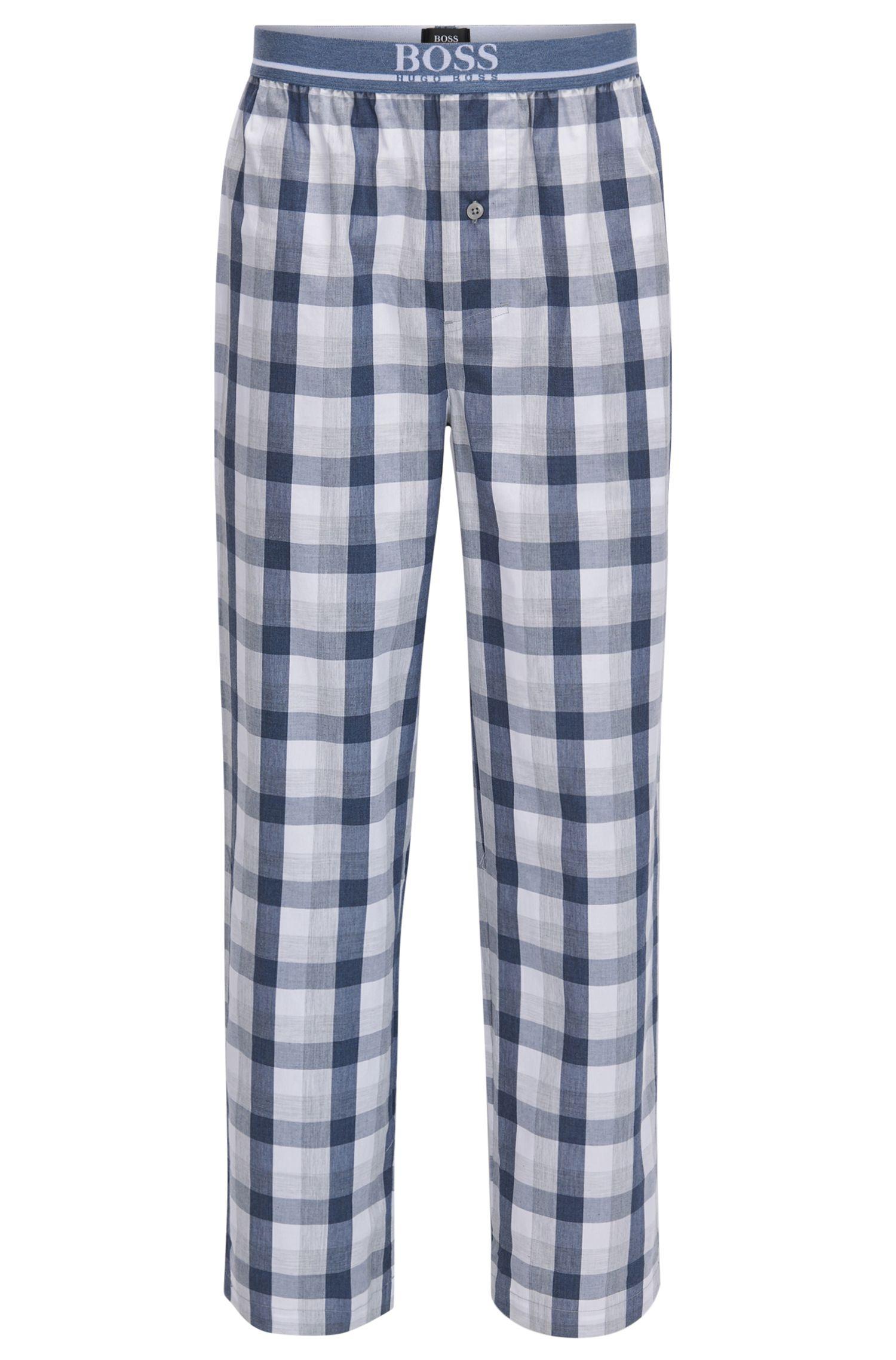 Pantaloni del pigiama in popeline di cotone a quadri color denim