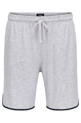Jersey pyjama shorts with drawstring waist and contrast piping, Grey