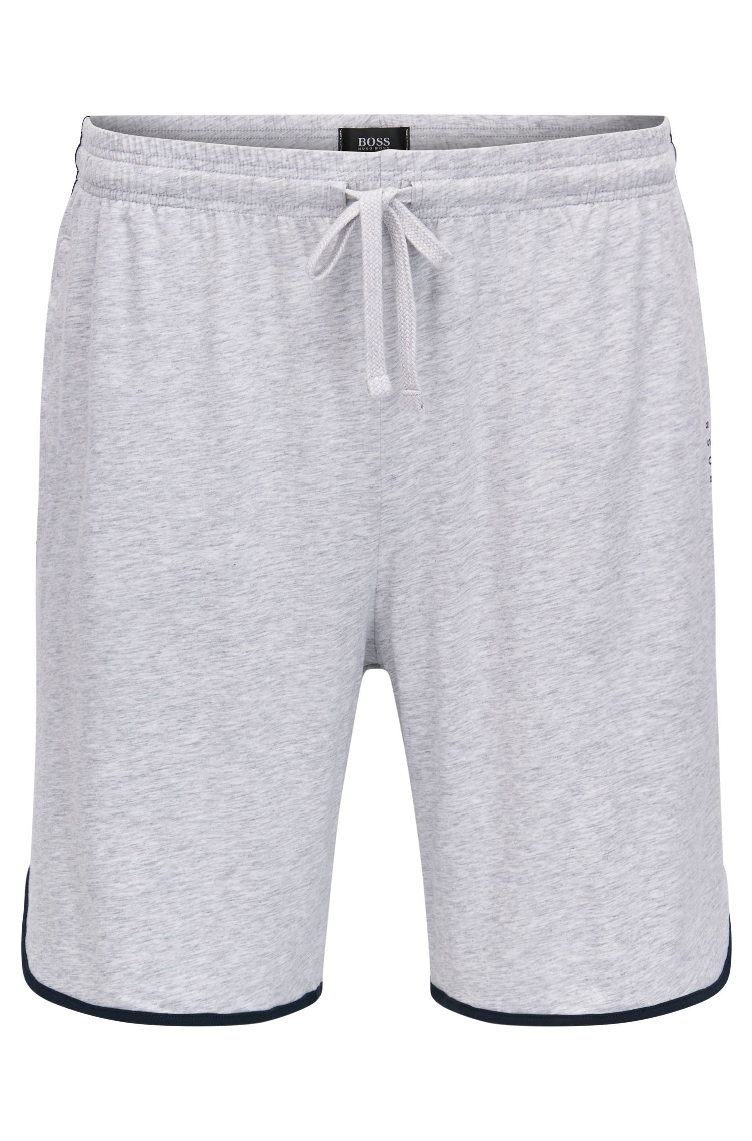 Jersey pyjama shorts with drawstring waist and contrast piping