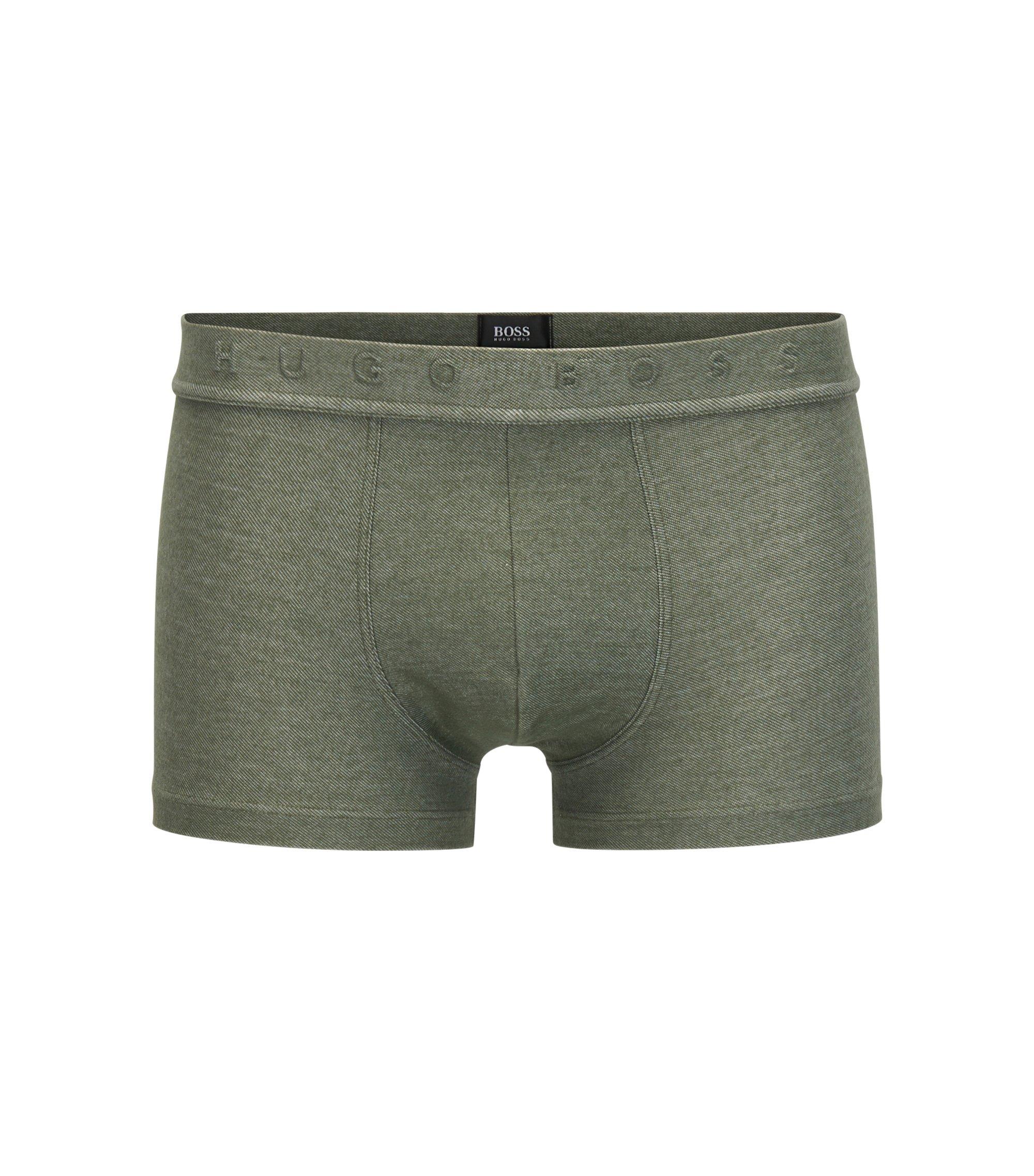 Boxershorts aus Baumwoll-Mix im Denim-Look, Dunkelgrün