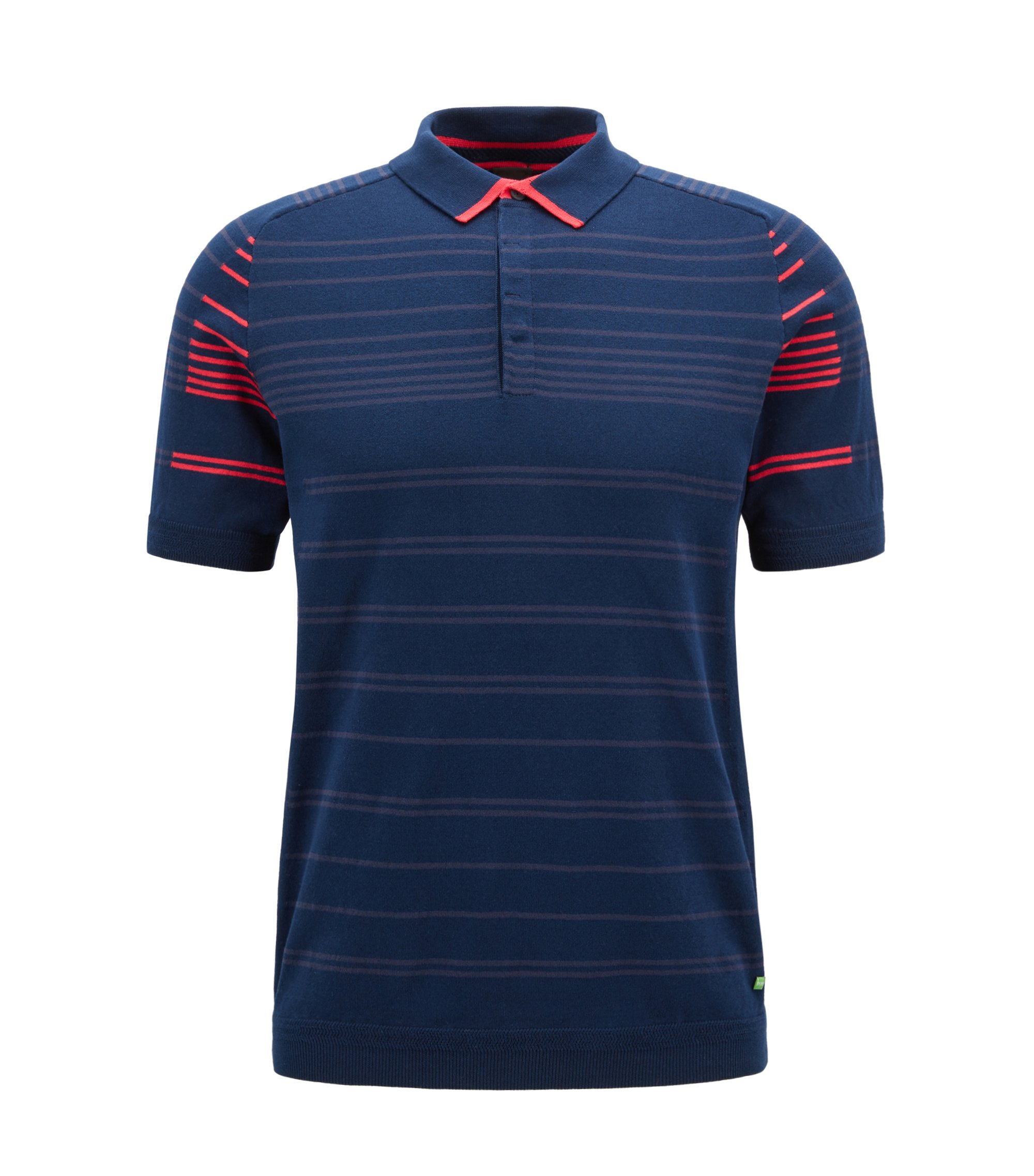 Regular-fit cotton-blend polo shirt with stripe, Dark Blue